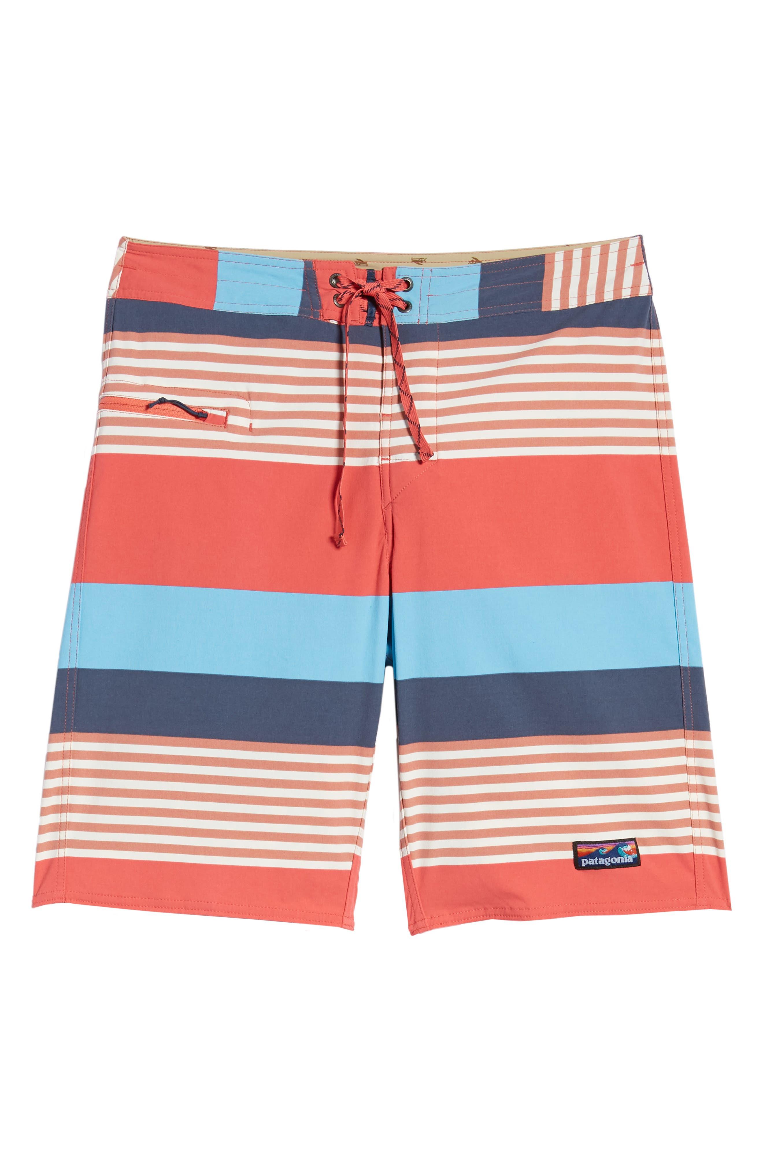 PATAGONIA,                             Wavefarer Board Shorts,                             Alternate thumbnail 6, color,                             FITZ STRIPE: SPICED CORAL