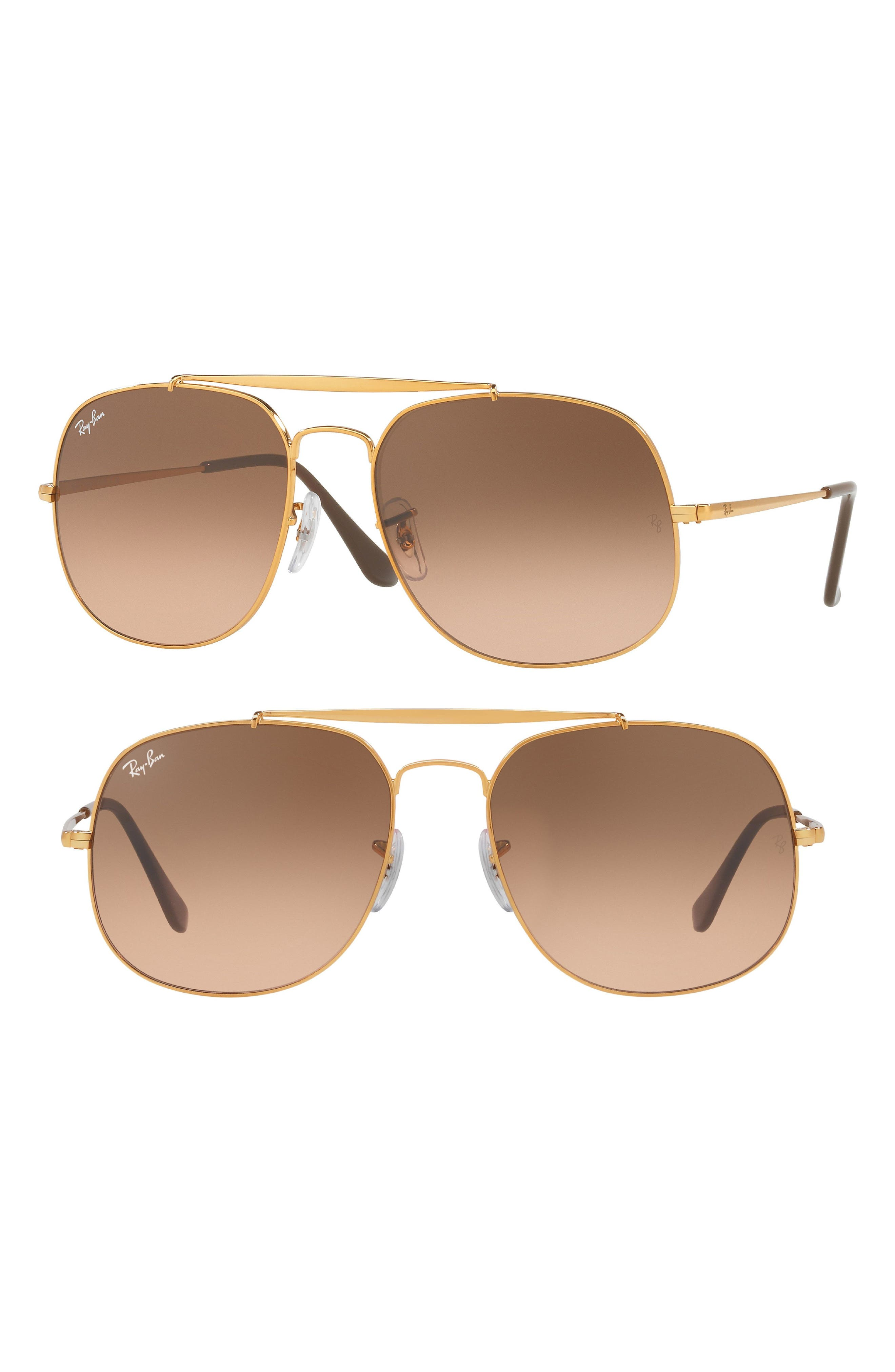 57mm Gradient Lens Square Aviator Sunglasses,                             Main thumbnail 1, color,