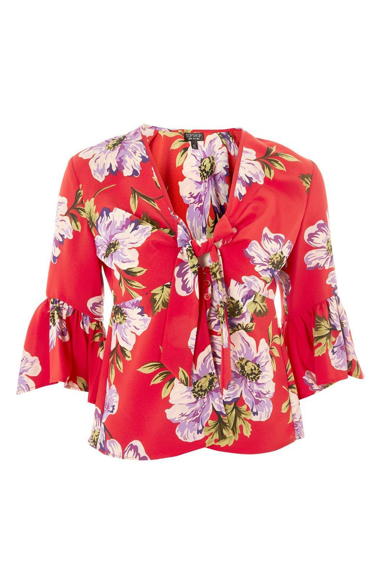 Felicity Tie Front Blouse,                             Alternate thumbnail 6, color,