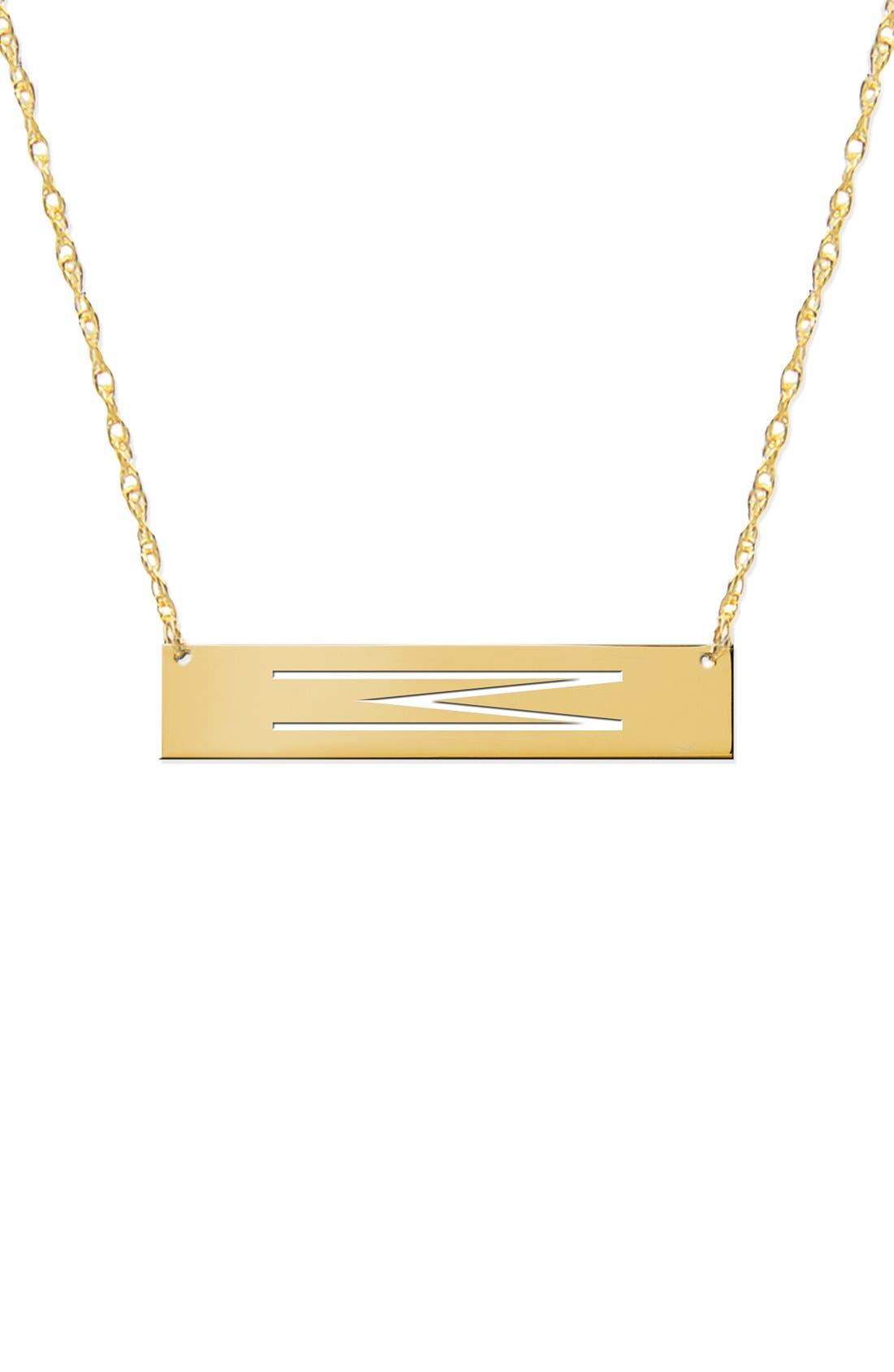 Personalized Bar Pendant Necklace,                             Main thumbnail 1, color,                             GOLD
