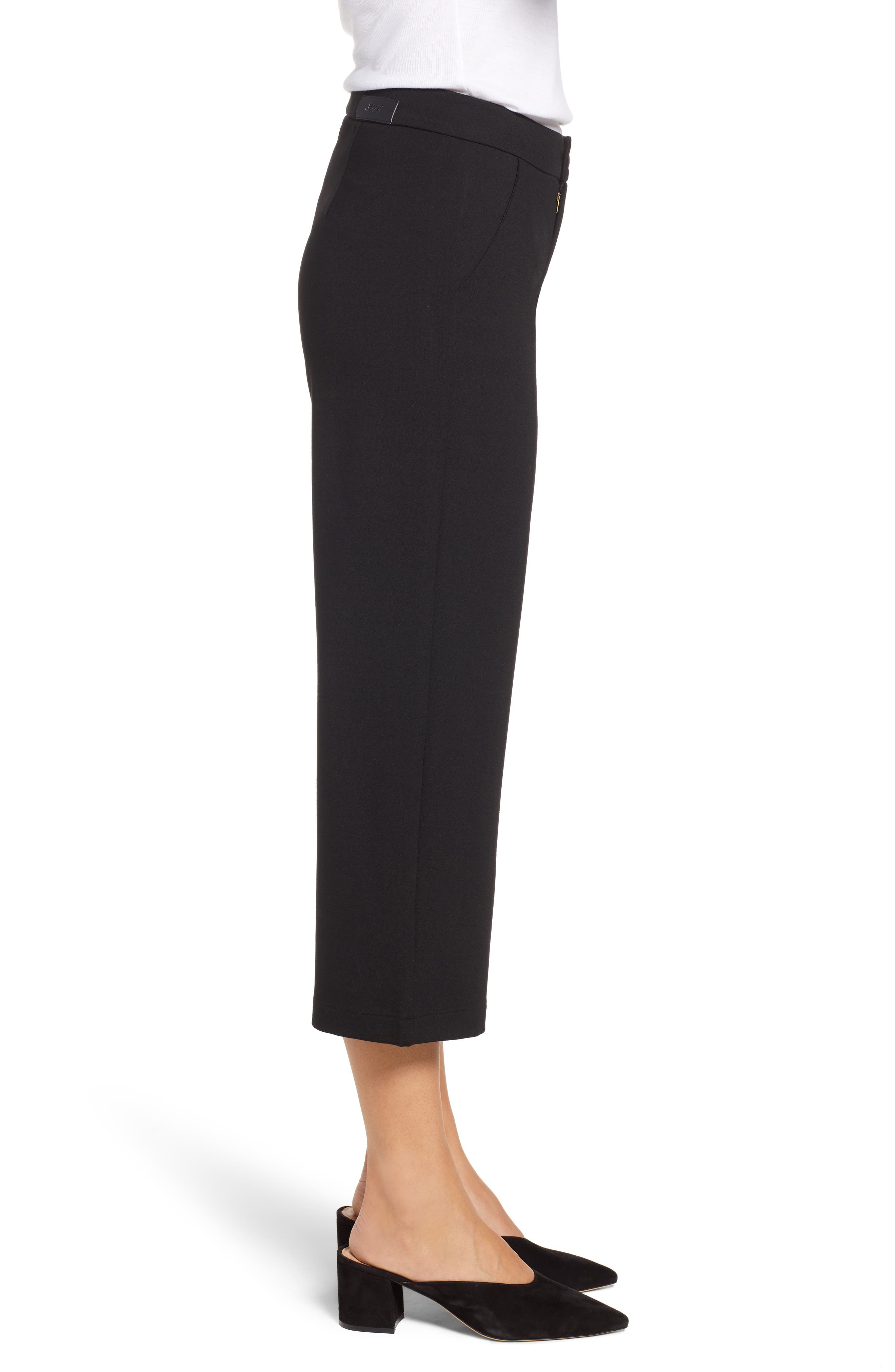 Blair Crop Wide Leg Ponte Pants,                             Alternate thumbnail 3, color,                             BLACK