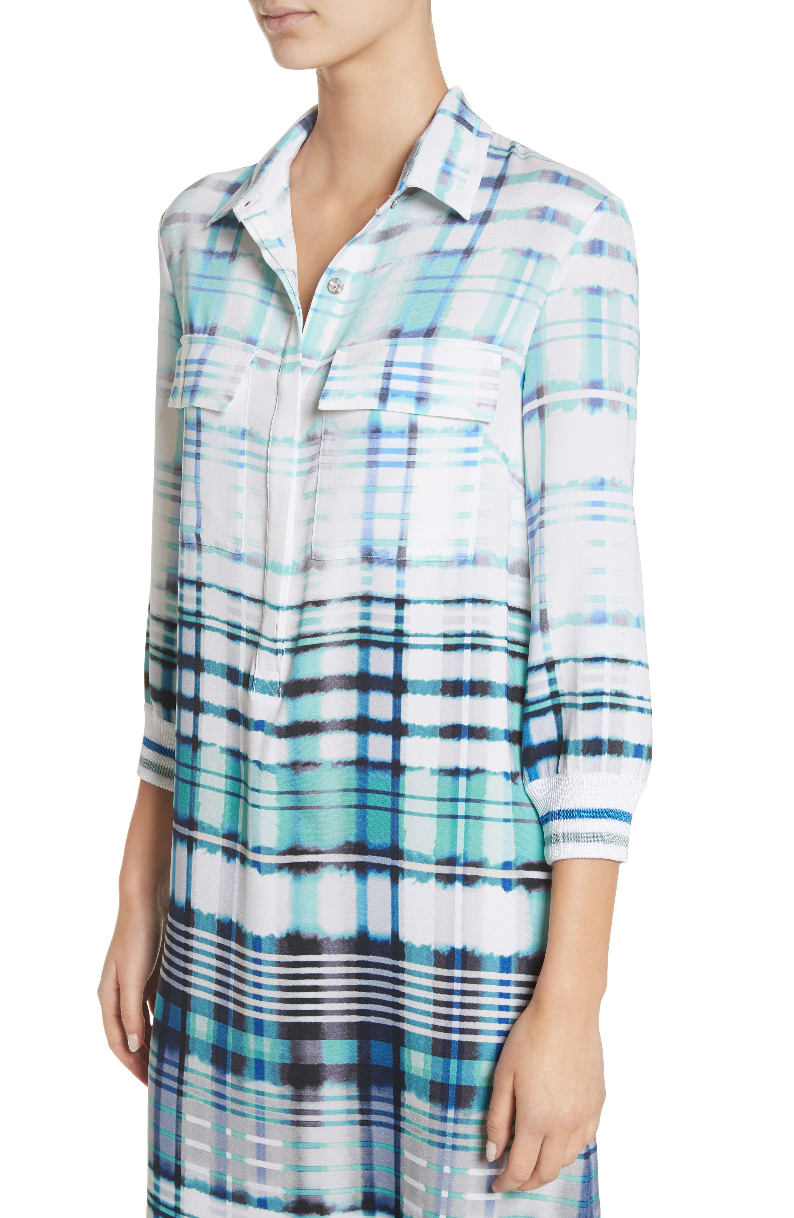 Ombré Plaid Stretch Silk Shirtdress,                             Alternate thumbnail 4, color,                             350
