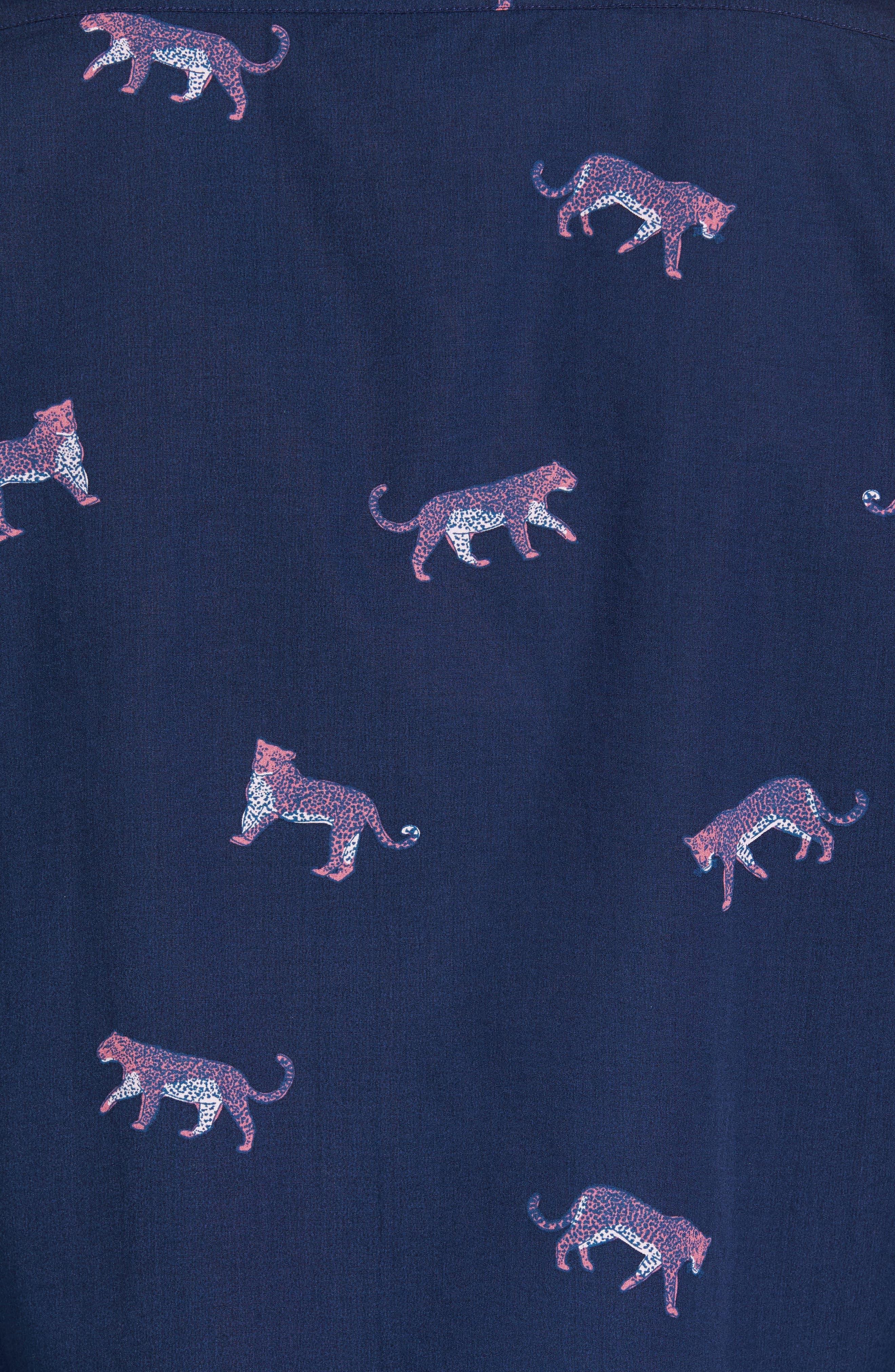 Slim Fit Washed Cheetah Print Sport Shirt,                             Alternate thumbnail 5, color,                             400