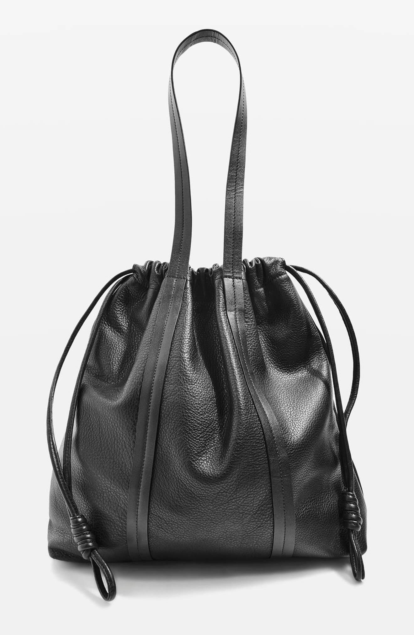 Premium Leather Drawstring Shoulder Bag,                             Main thumbnail 1, color,                             001
