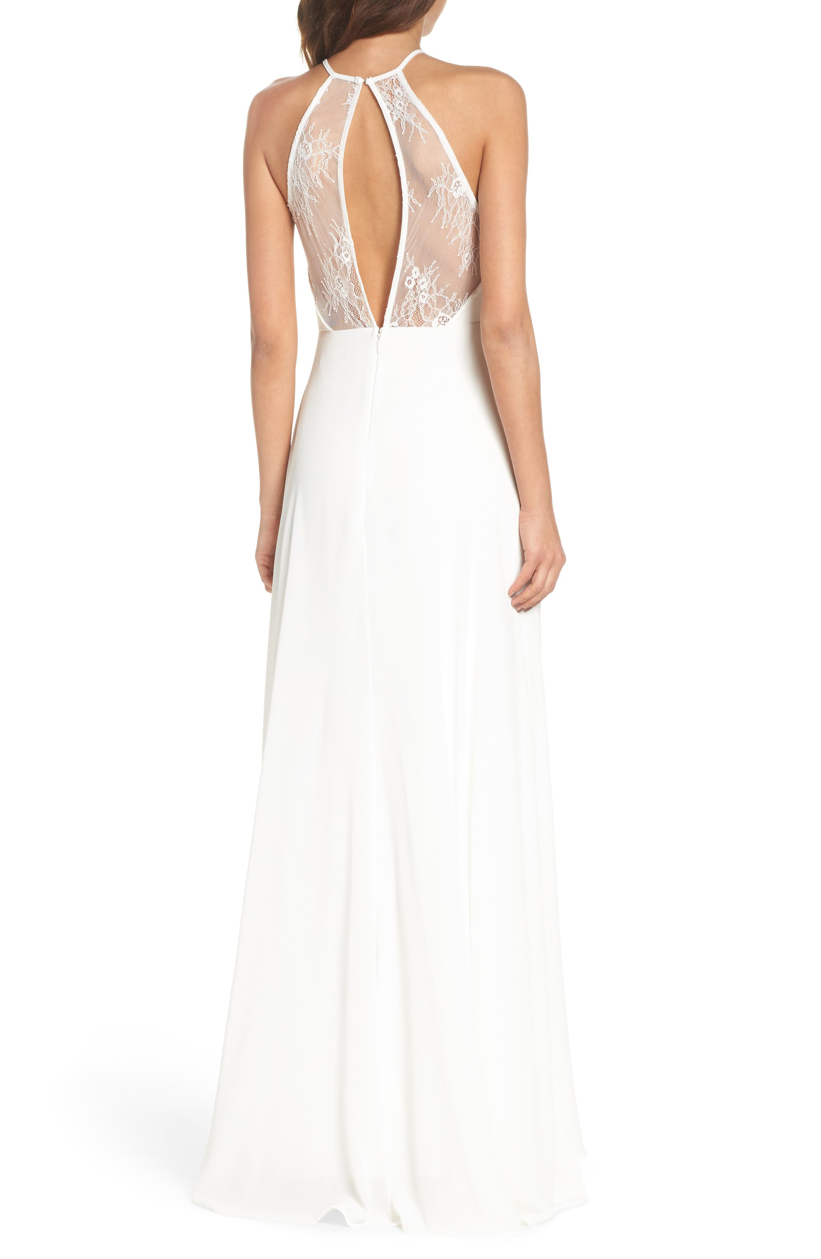 Lace Inset Halter Neck Gown,                             Alternate thumbnail 2, color,                             WHITE