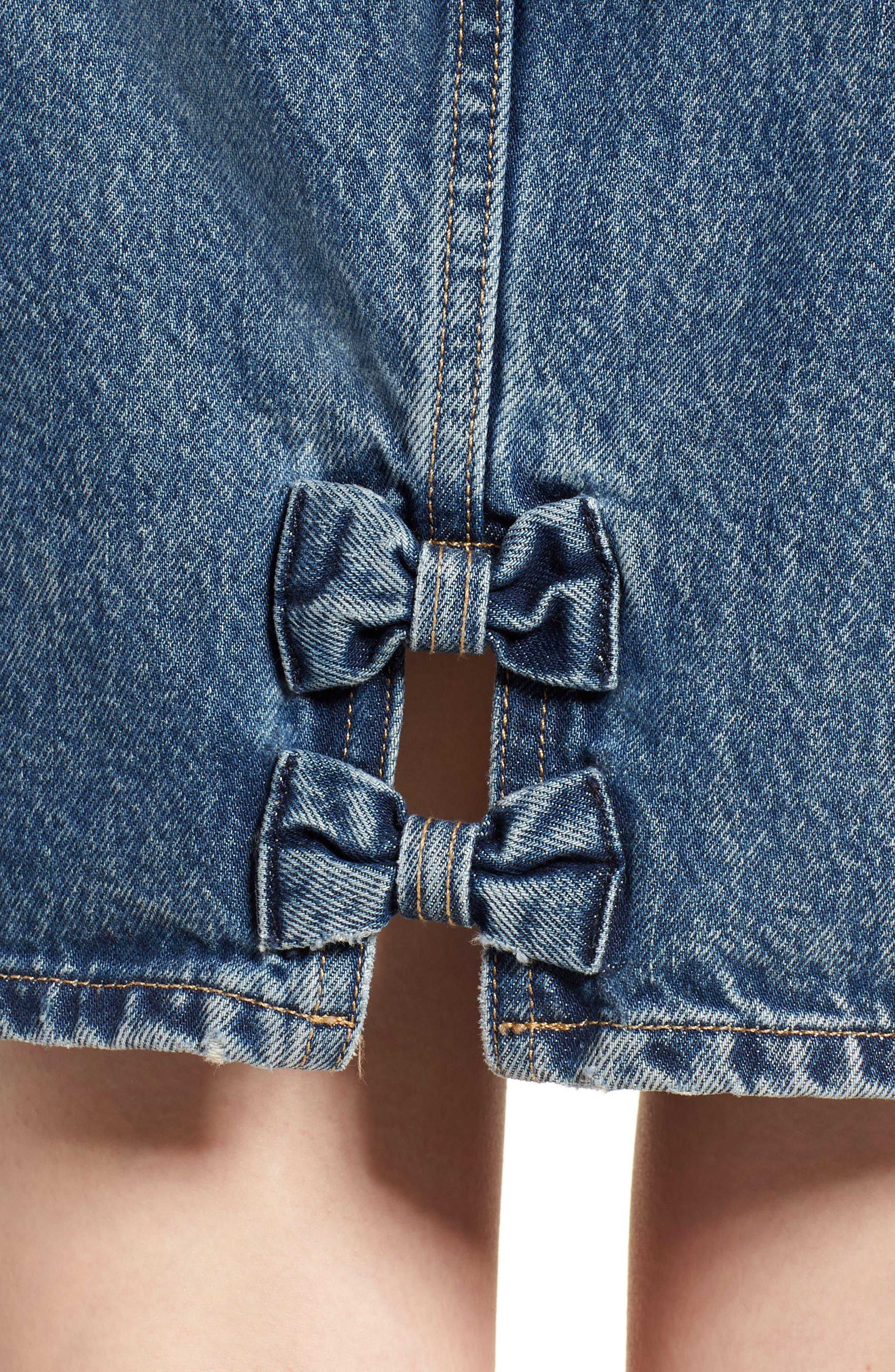 Mom Bow Back Denim Skirt,                             Alternate thumbnail 4, color,                             420