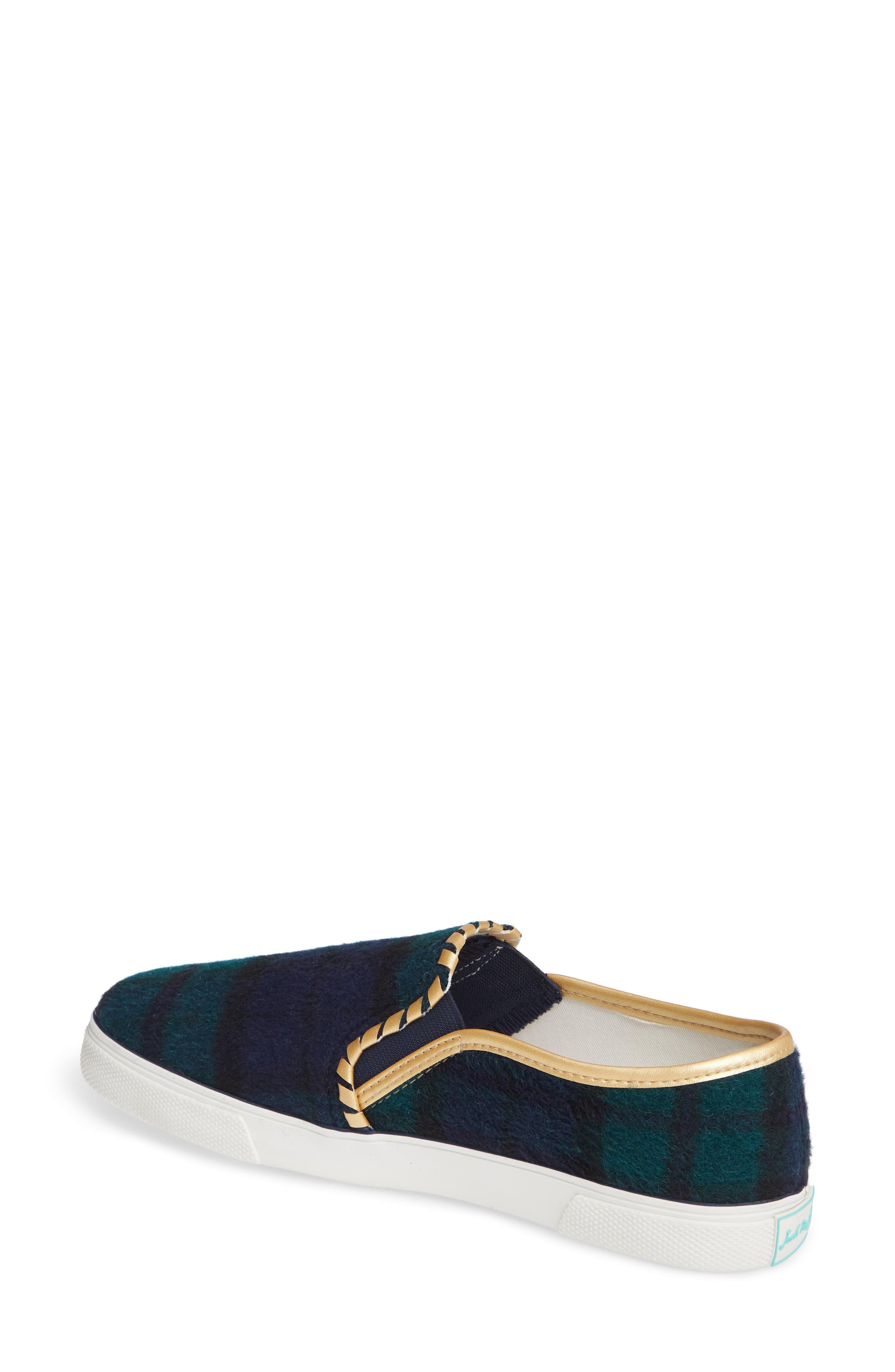 Brynne Slip-On Sneaker,                             Alternate thumbnail 2, color,                             MIDNIGHT/ GREEN FABRIC