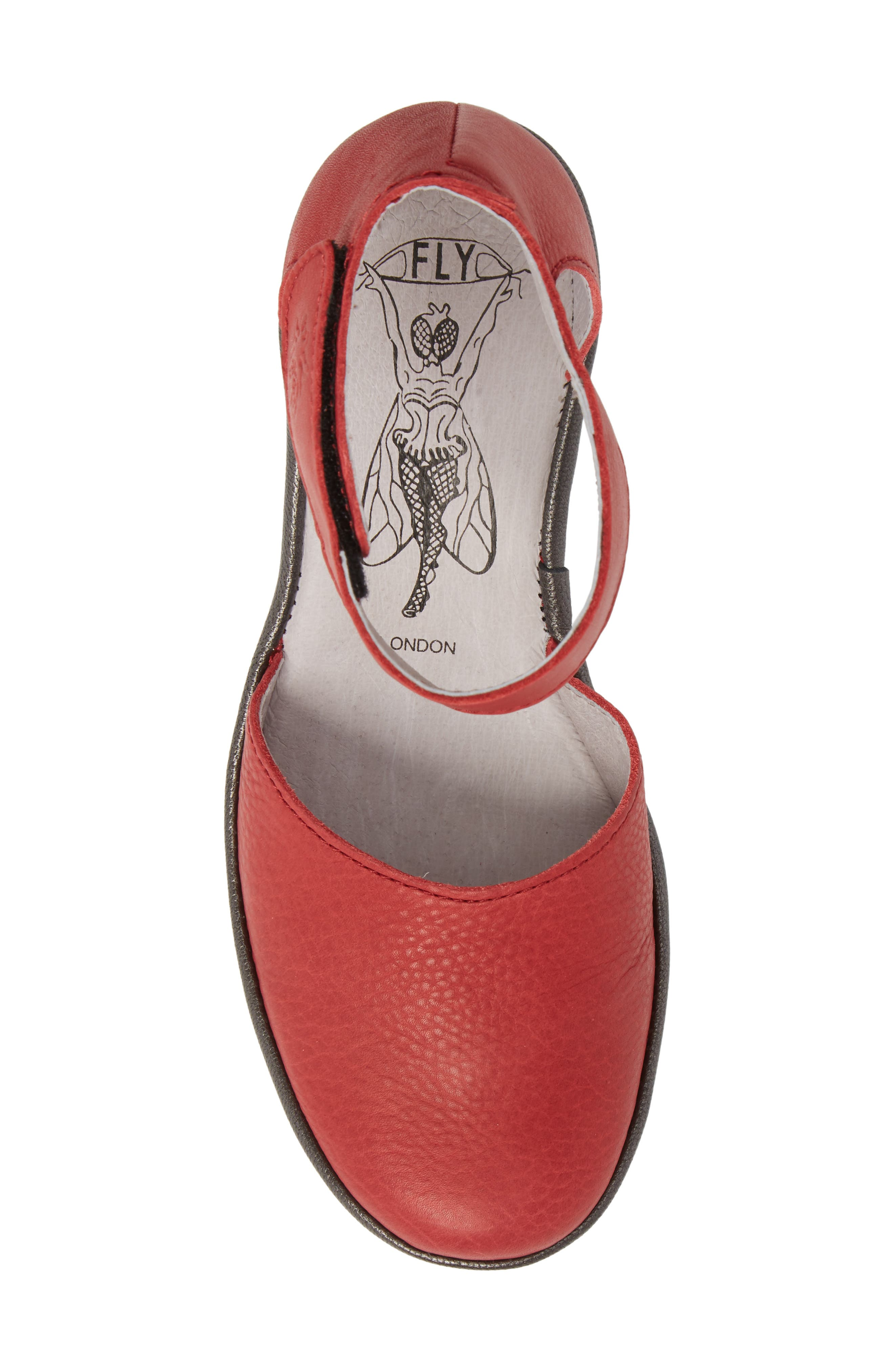 Yand Wedge Pump,                             Alternate thumbnail 5, color,                             RED/ OFF WHITE BRITO LEATHER