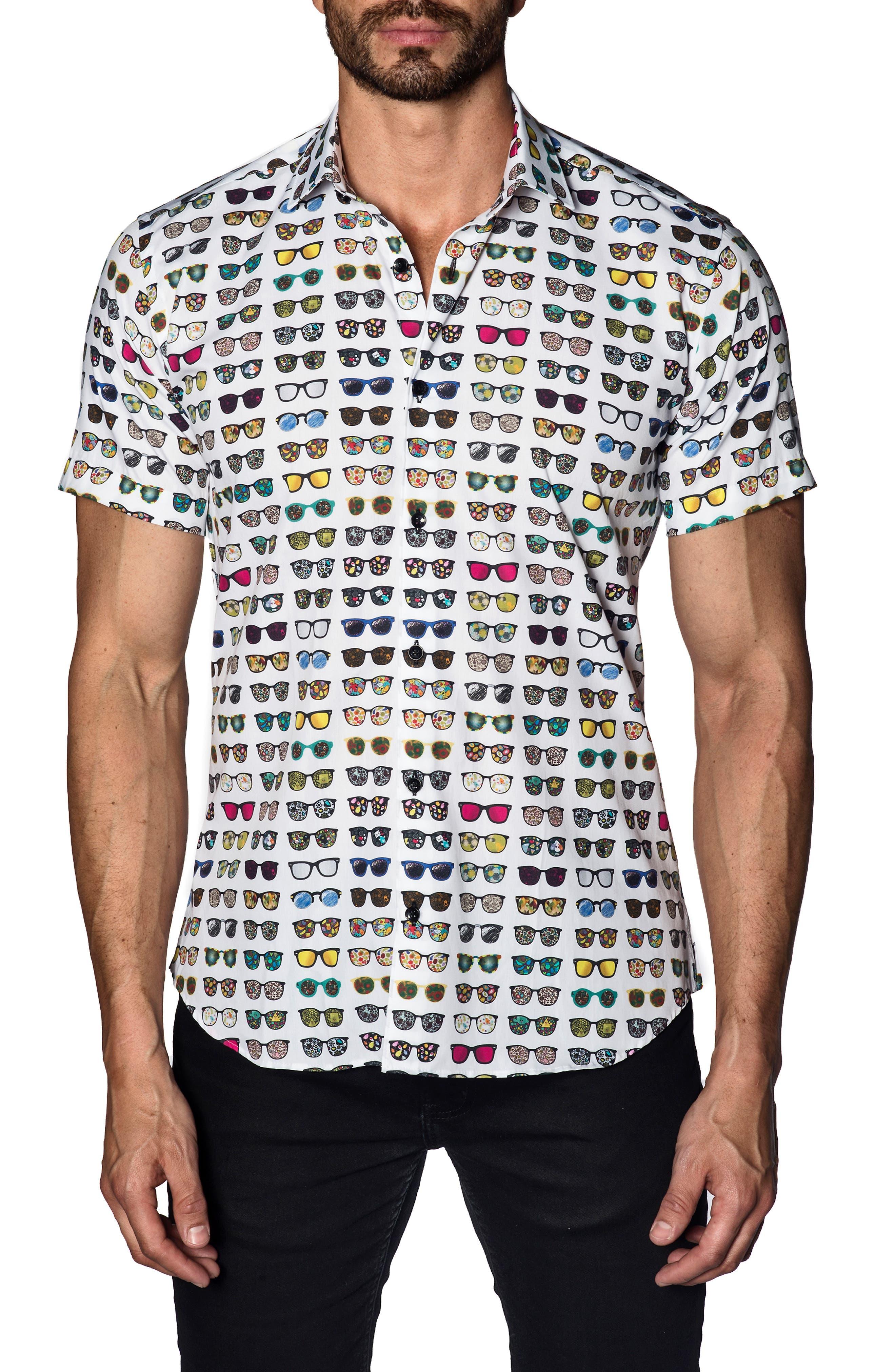 Sunglasses Print Sport Shirt,                             Main thumbnail 1, color,                             WHITE MULTI SUNGLASSES