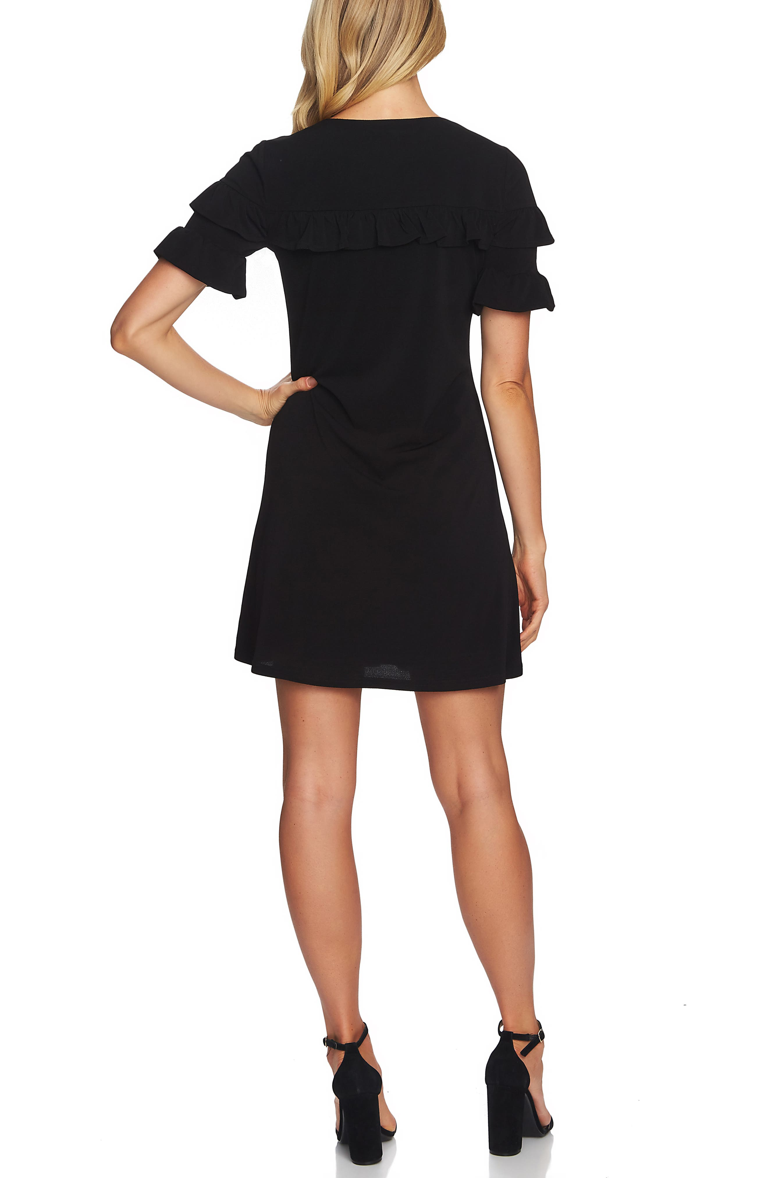 CECE,                             Ruffle Detail Short Sleeve Dress,                             Alternate thumbnail 2, color,                             RICH BLACK