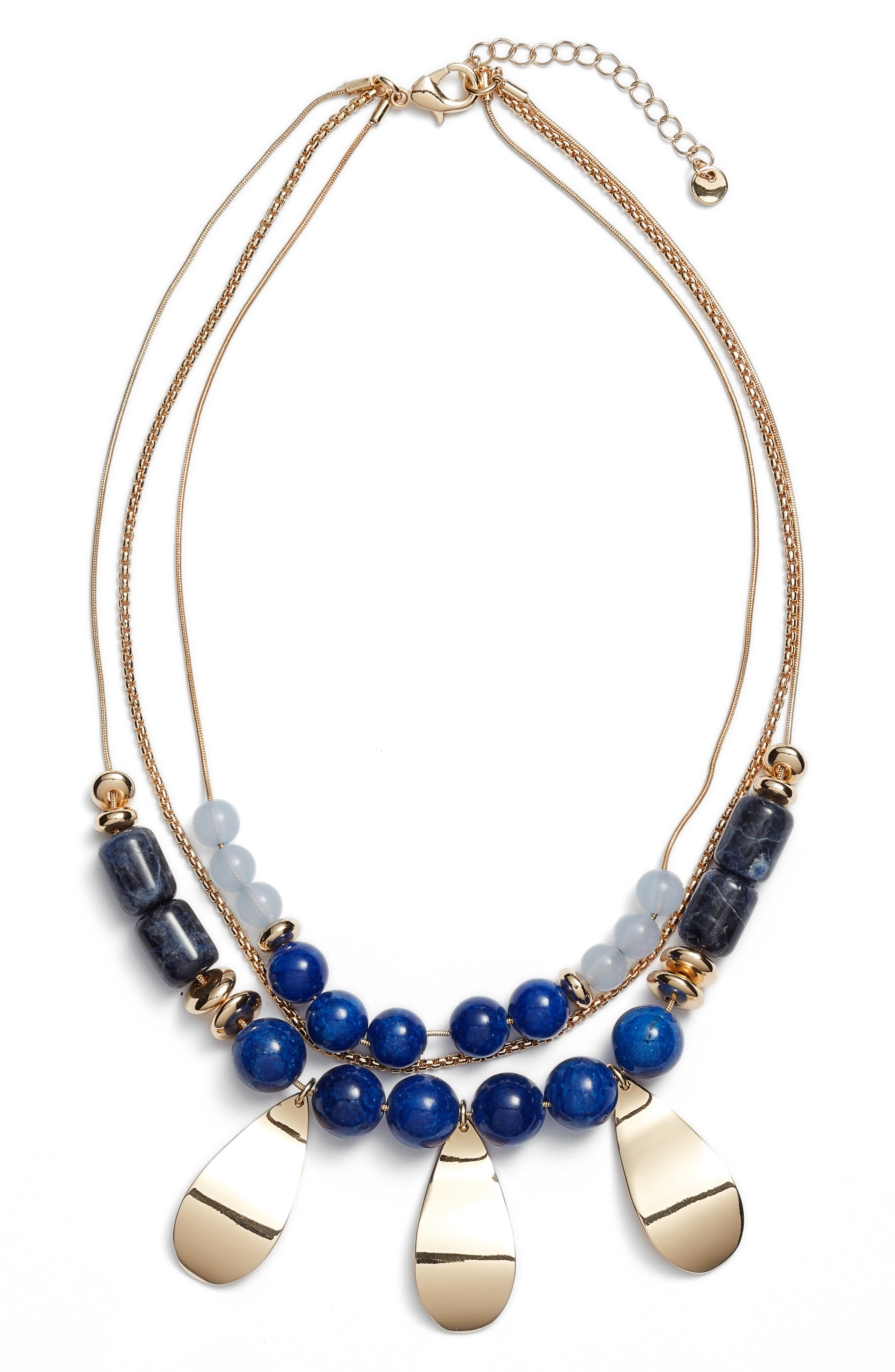 Layered Statement Necklace,                         Main,                         color, BLUE- GOLD