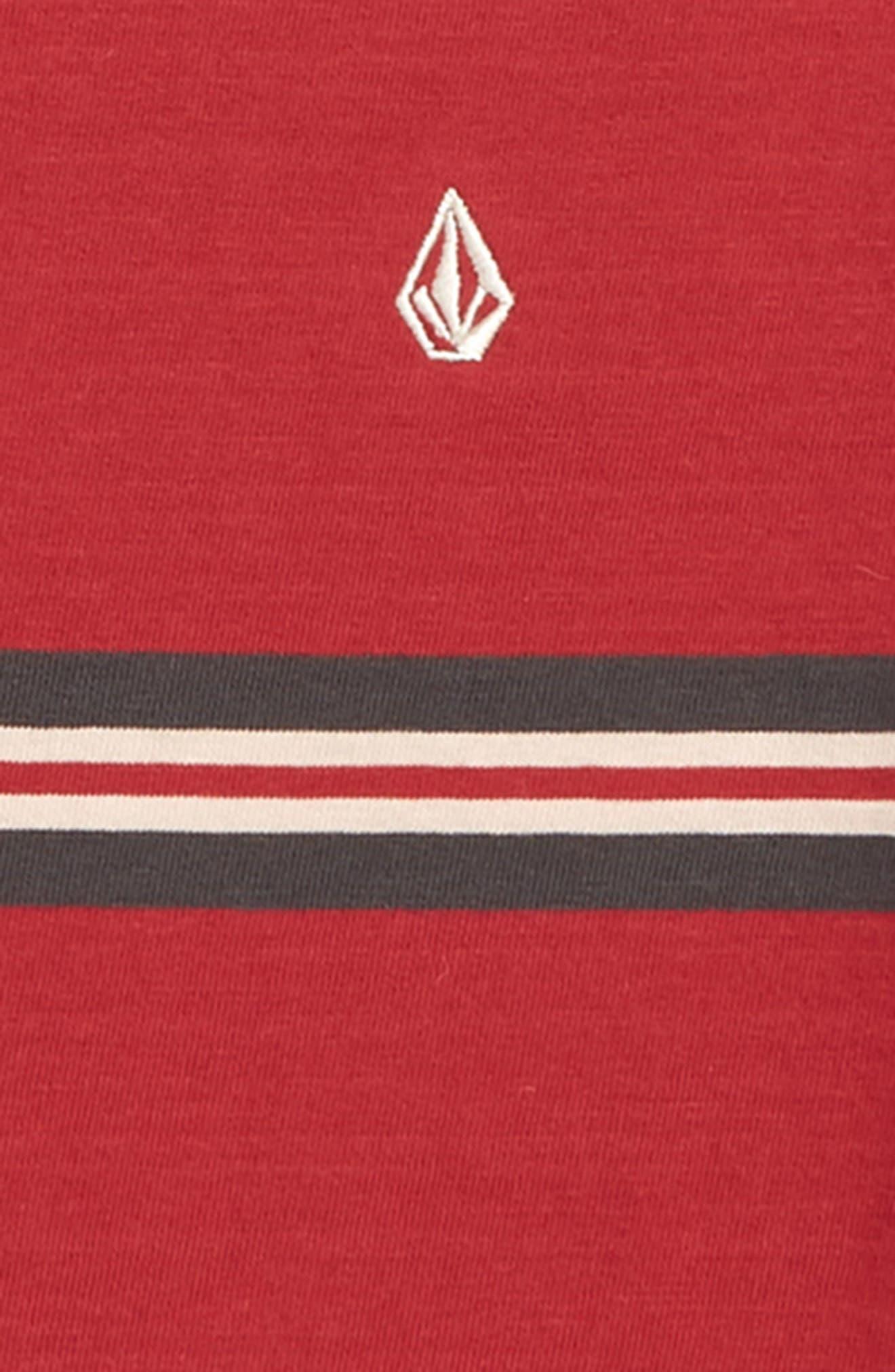 VOLCOM,                             Beauville Stripe T-Shirt,                             Alternate thumbnail 2, color,                             BURGUNDY