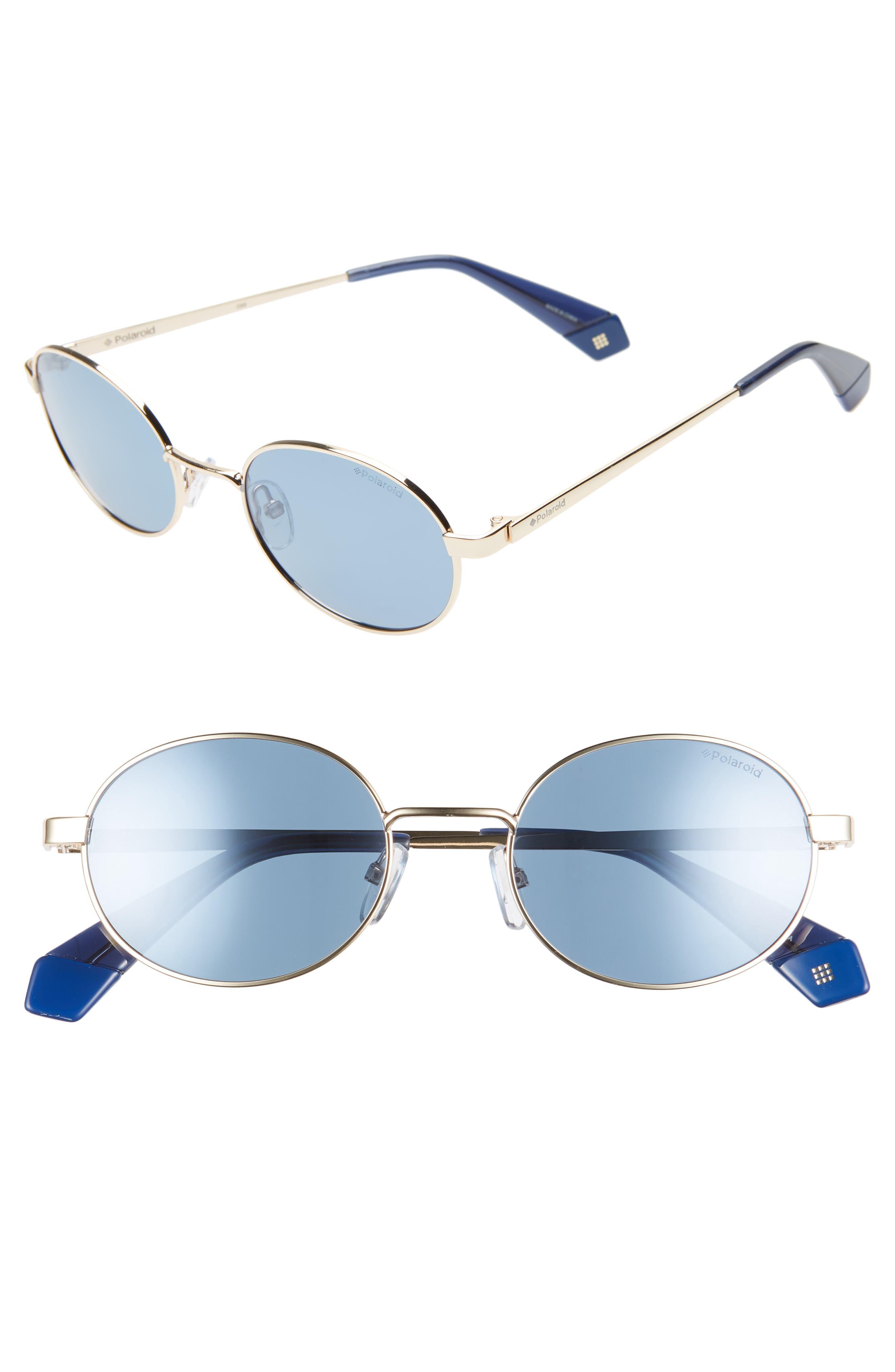 Polaroid 51Mm Polarized Round Sunglasses - Gold/ Blue