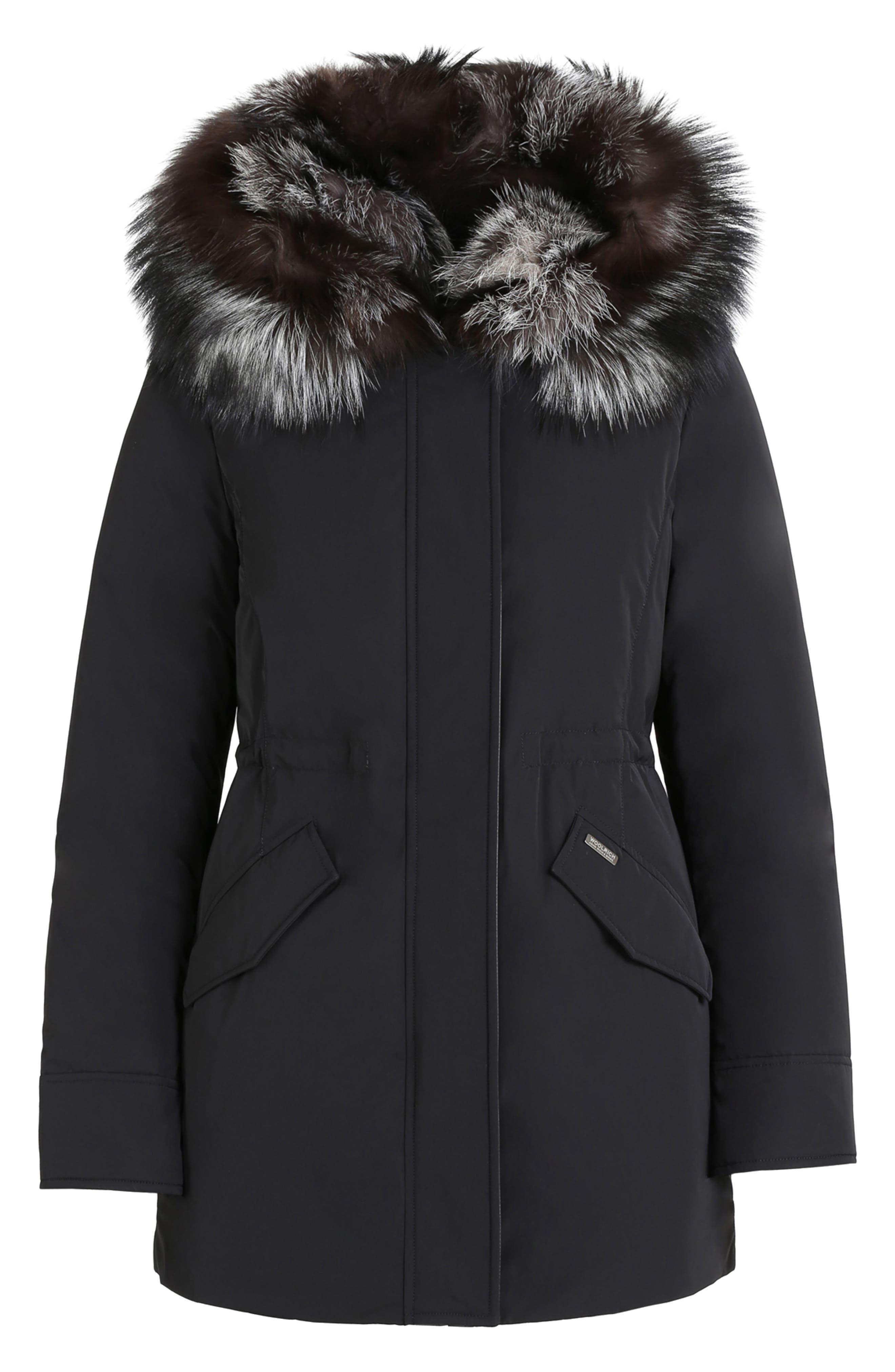 Somerset Reversible Hooded Down & Genuine Fox Fur Parka,                             Alternate thumbnail 4, color,                             BLACK