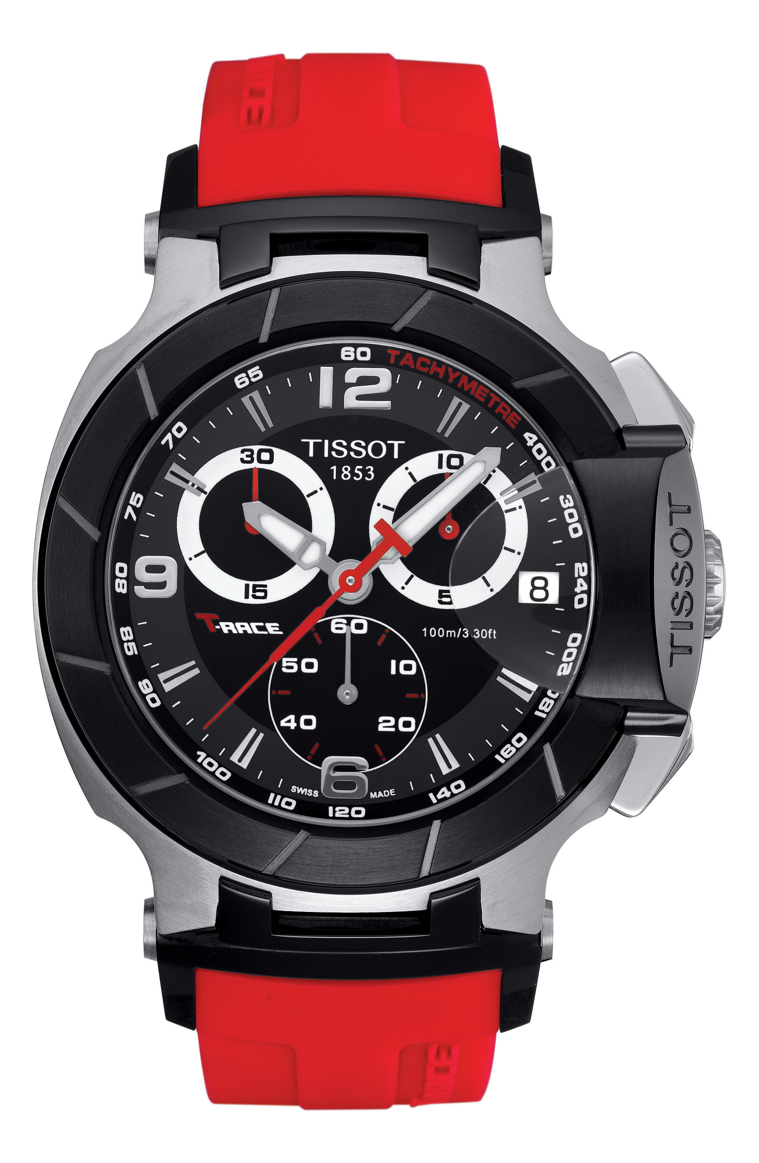 T-Race Chronograph Silicone Strap Watch, 50mm,                             Main thumbnail 1, color,                             RED/ BLACK/ SILVER