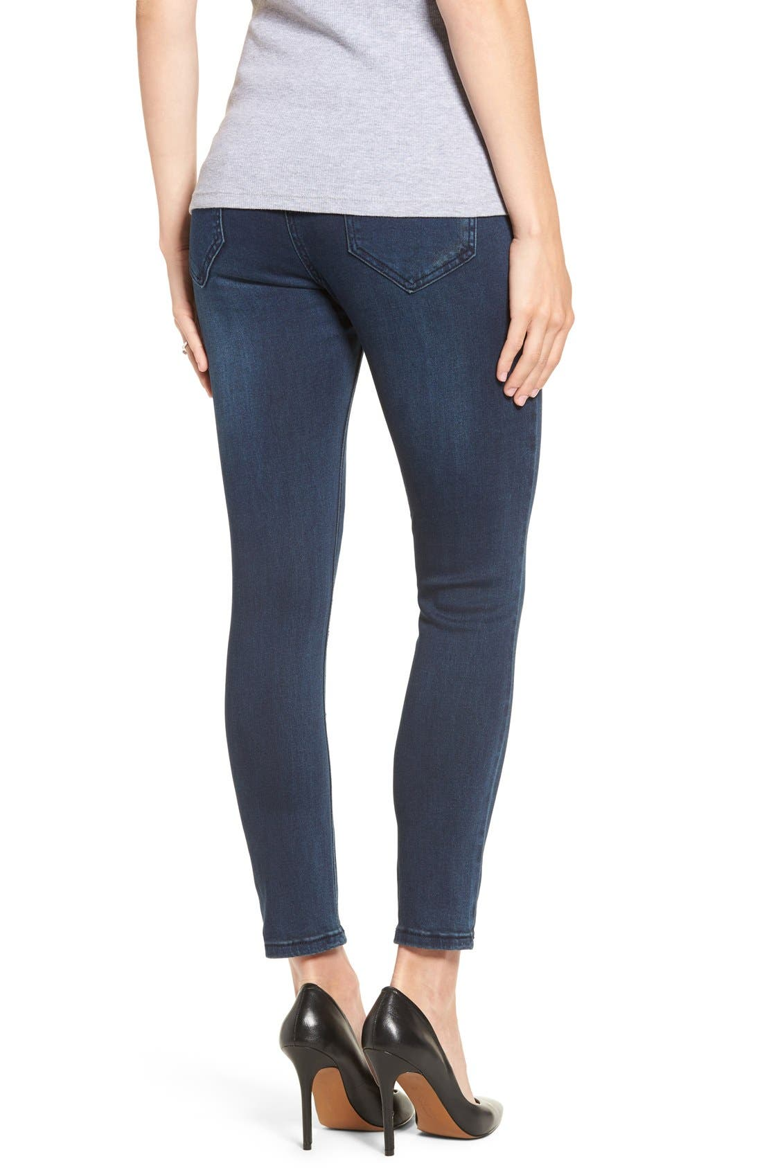 DistressedSkinnyMaternity Jeans,                             Alternate thumbnail 2, color,                             CLASSIC WASH