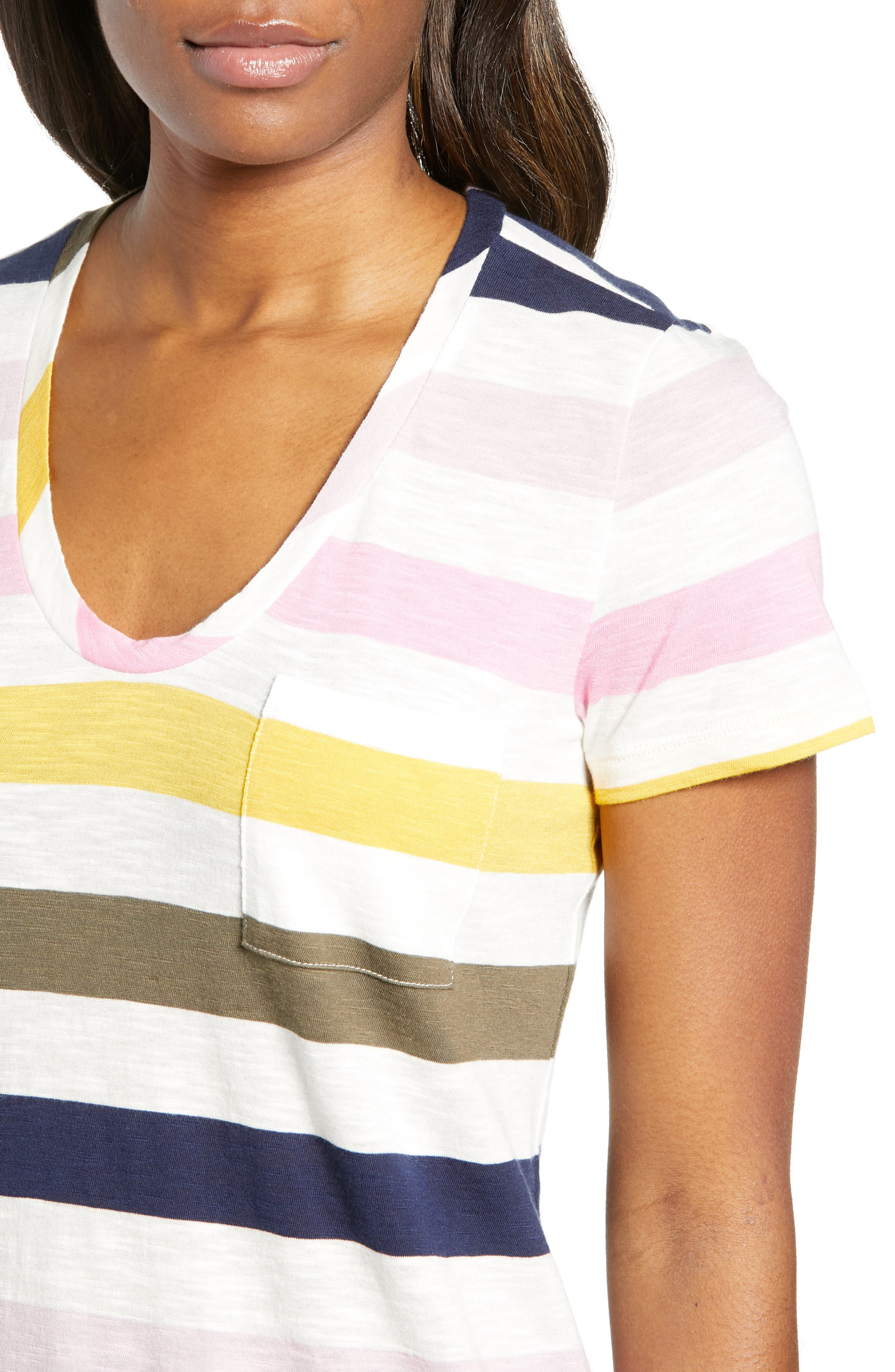 CASLON<SUP>®</SUP>,                             Rounded V-Neck Tee,                             Alternate thumbnail 5, color,                             PINK S- NAVY P NOMAD STRIPE