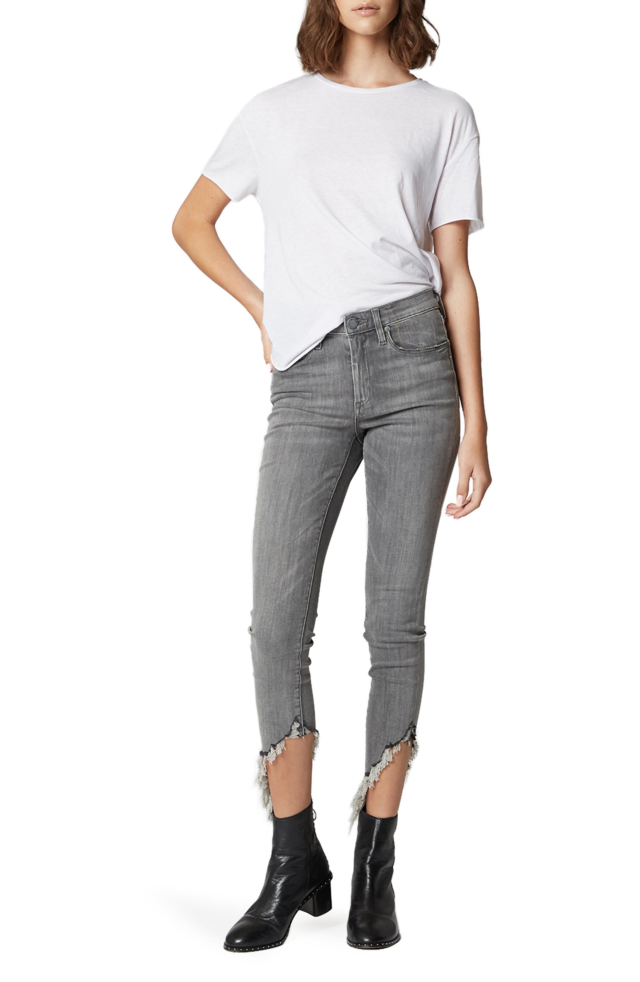 The Bond Asymmetrical Frayed Hem Skinny Jeans,                             Alternate thumbnail 5, color,                             SKY SCRAPER