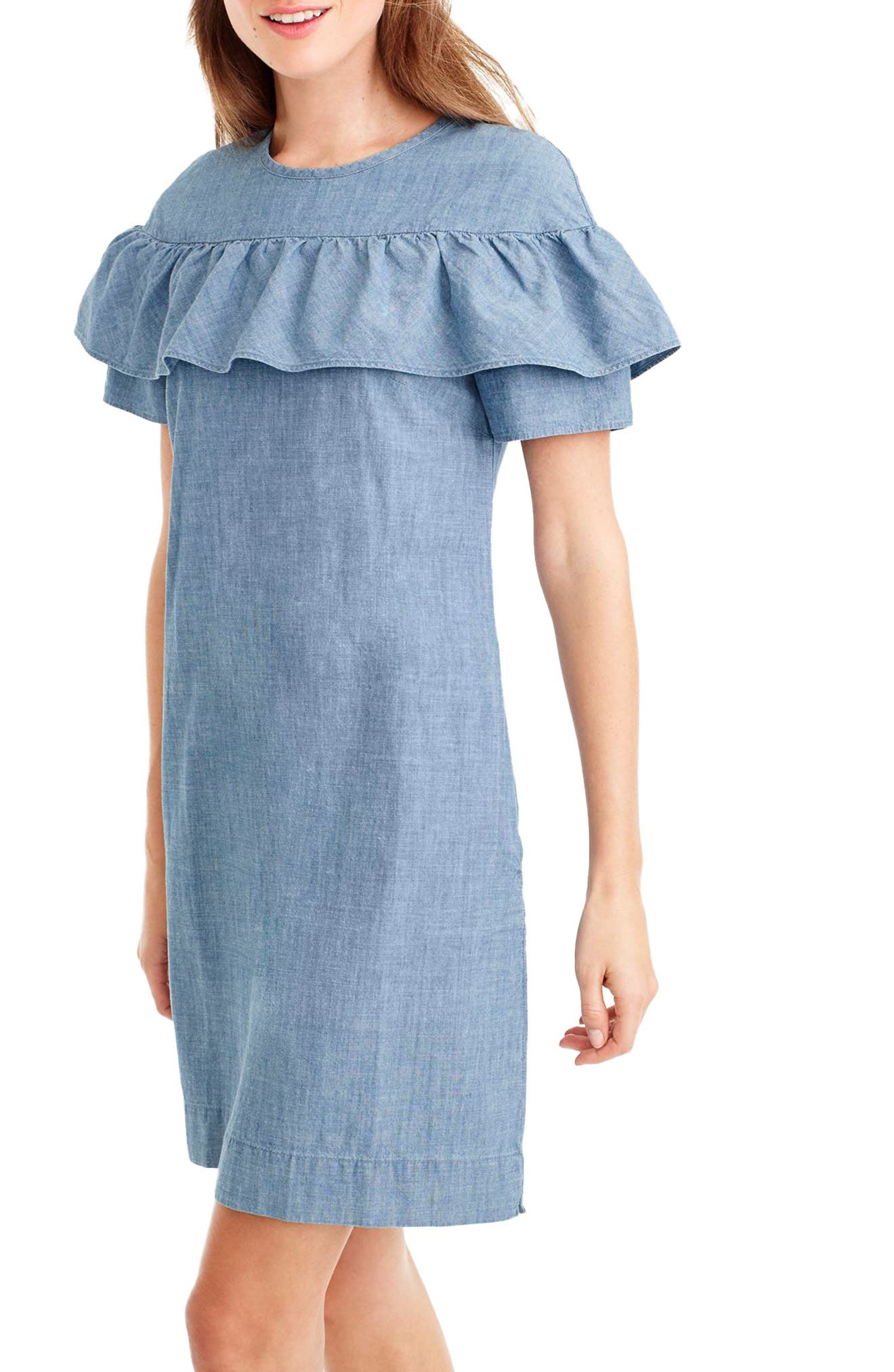 Edie Chambray Dress,                             Alternate thumbnail 3, color,                             400
