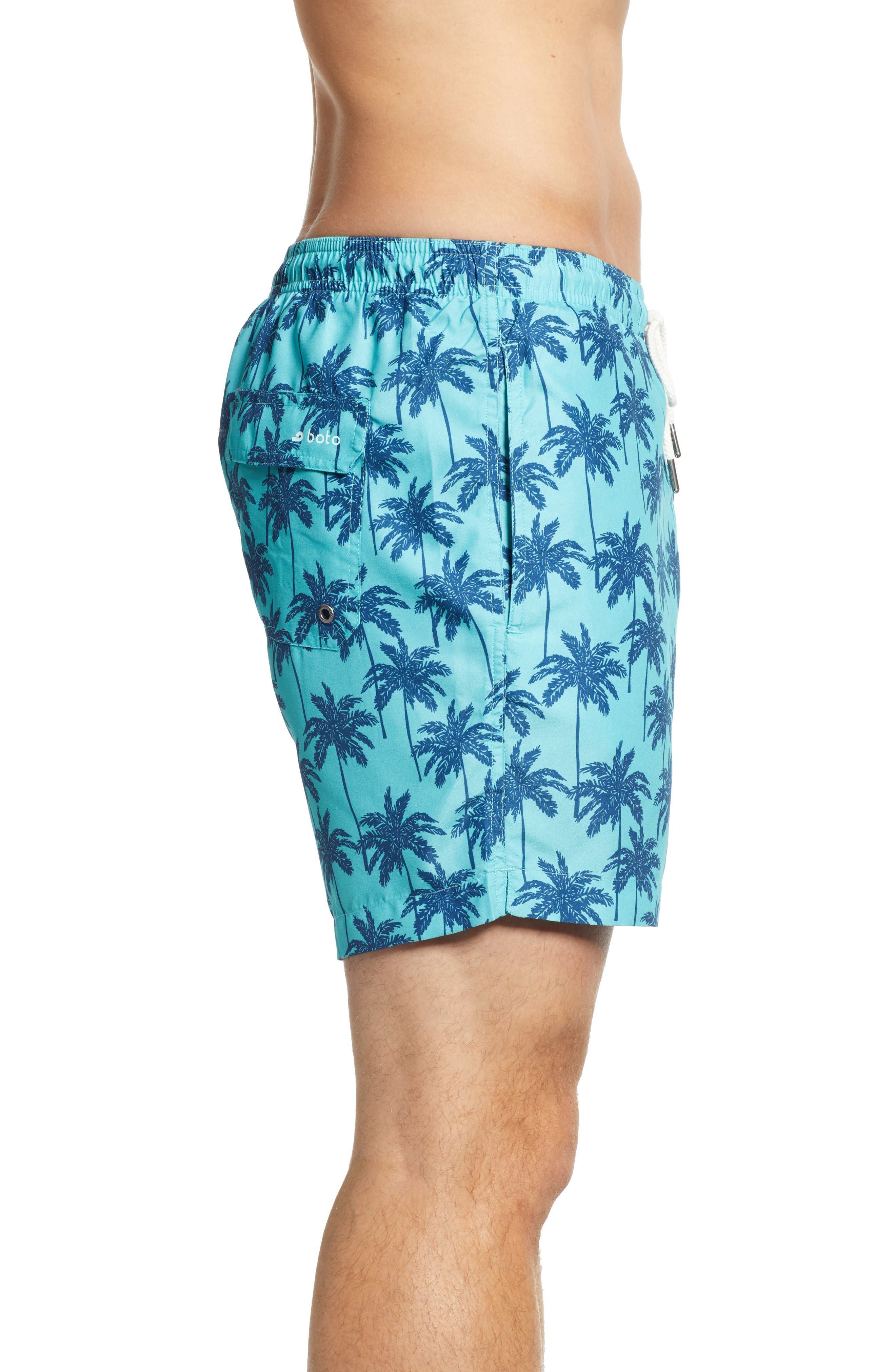 Cabo Palm Trees 6.5 Inch Swim Trunks,                             Alternate thumbnail 3, color,                             443