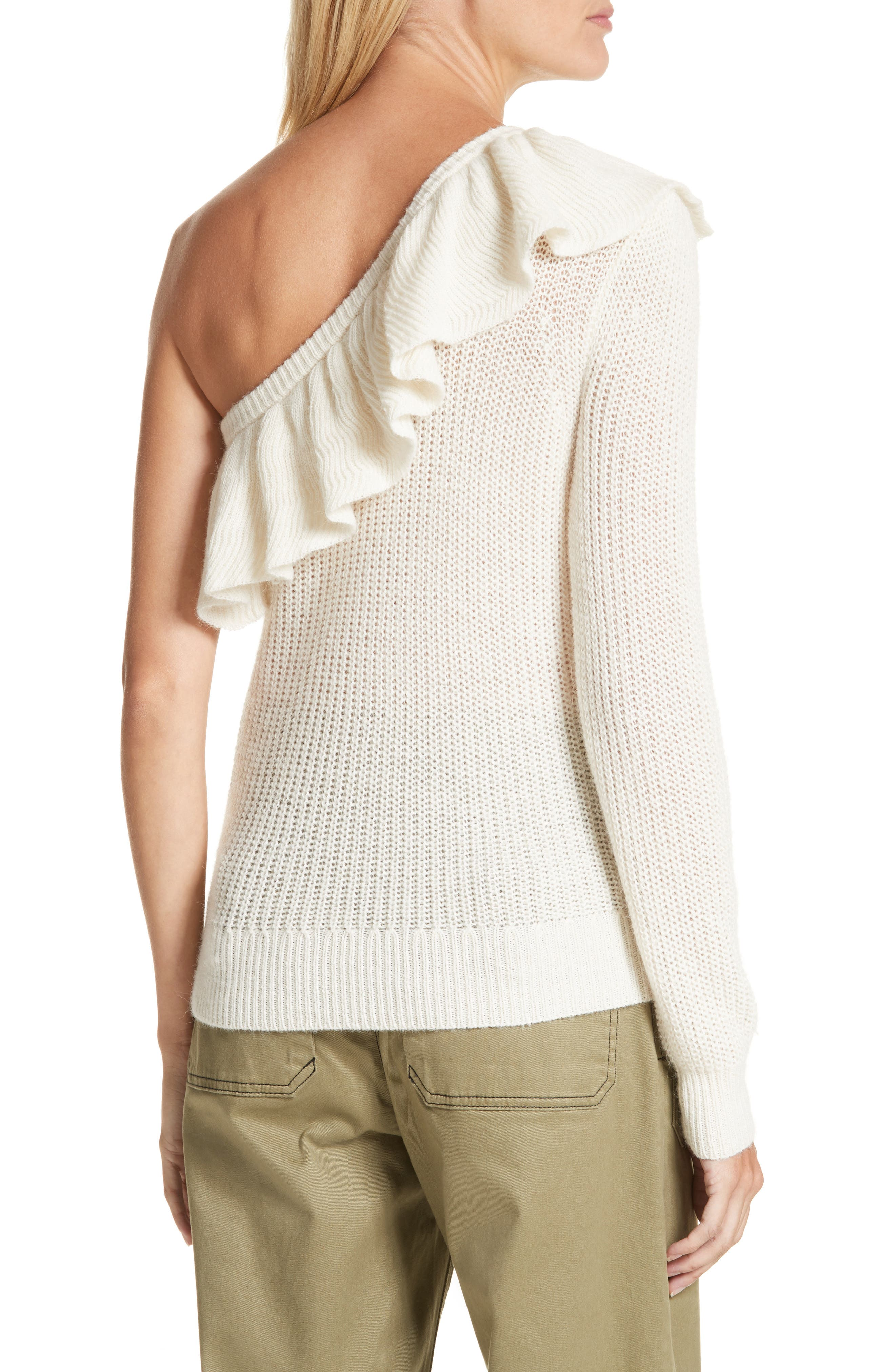 One-Shoulder Ruffle Sweater,                             Alternate thumbnail 2, color,                             907