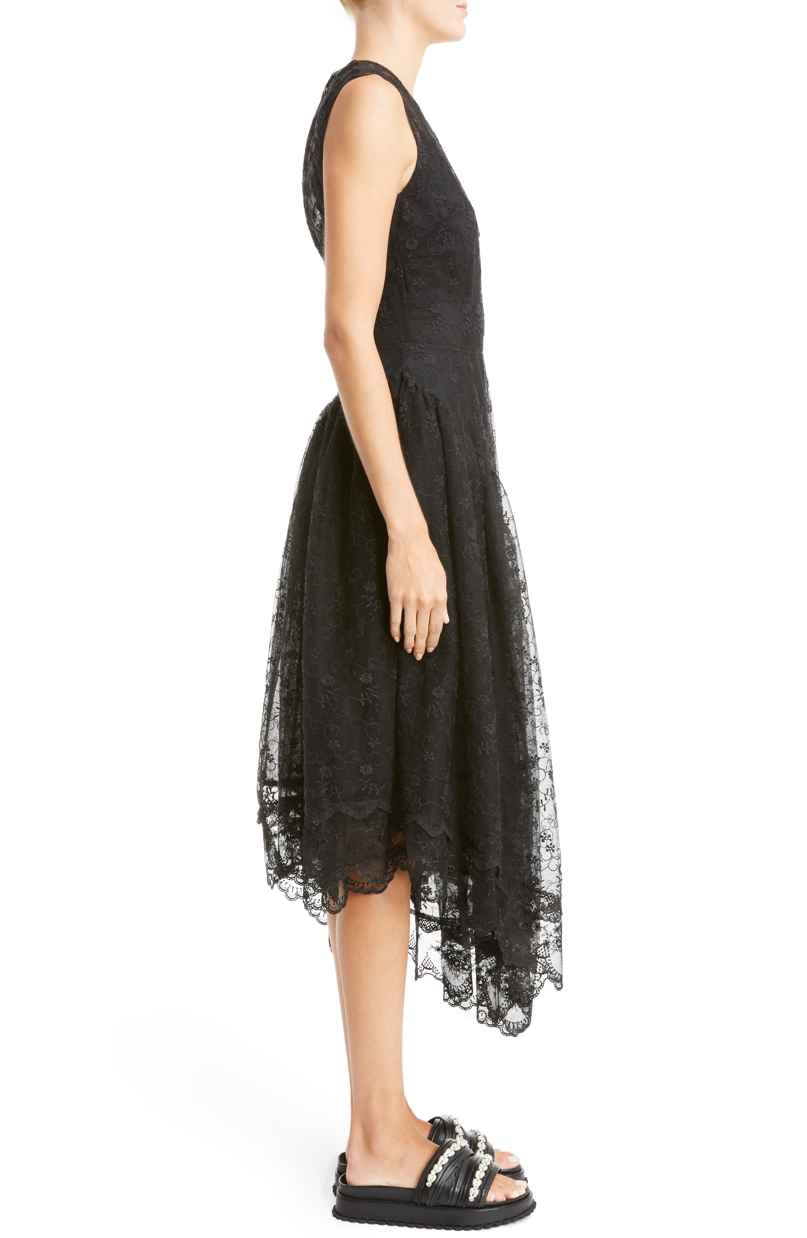 Asymmetrical Embroidered Tulle Dress,                             Alternate thumbnail 3, color,                             001