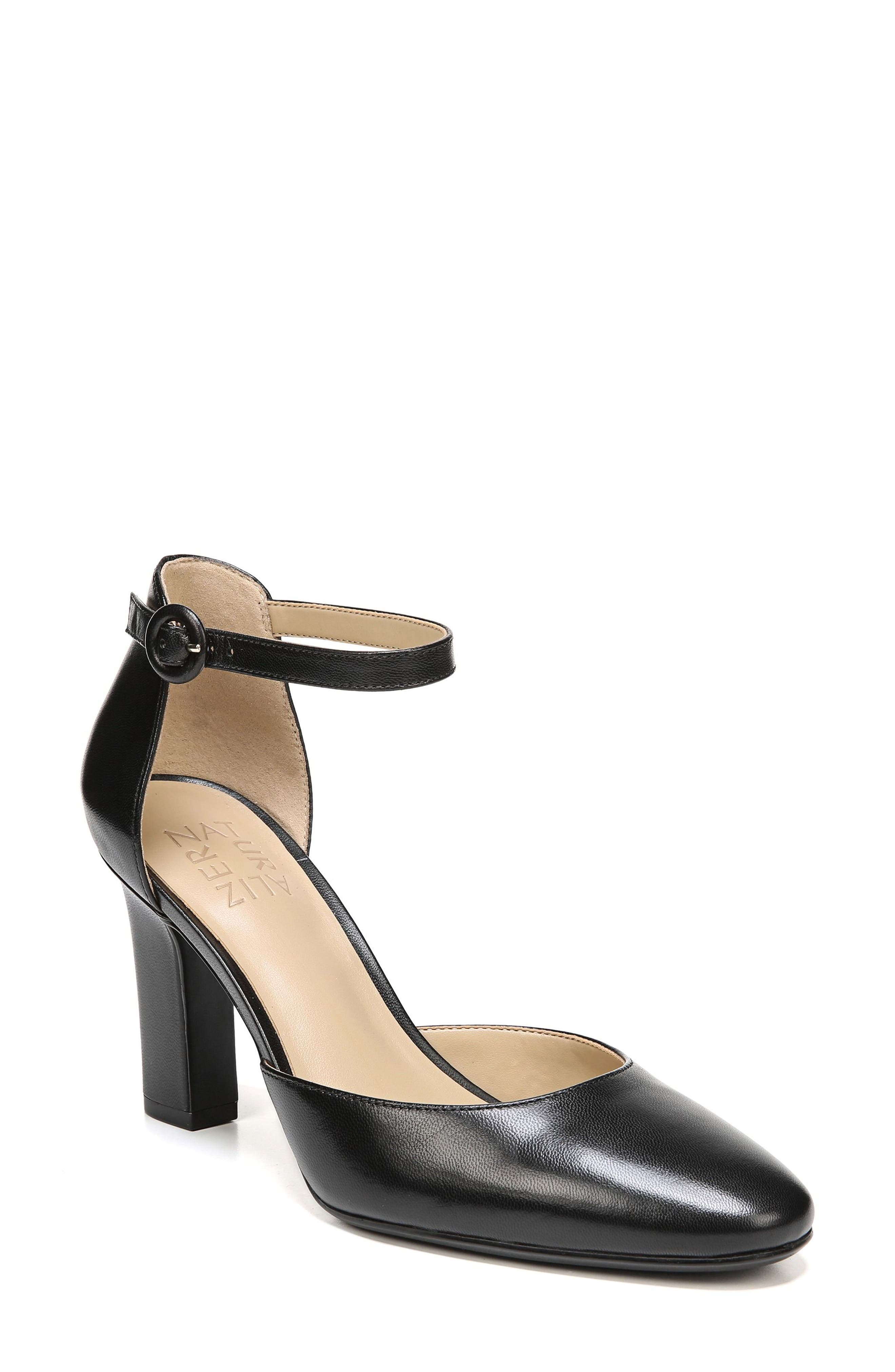 Gianna Ankle Strap Pump,                         Main,                         color, BLACK LEATHER