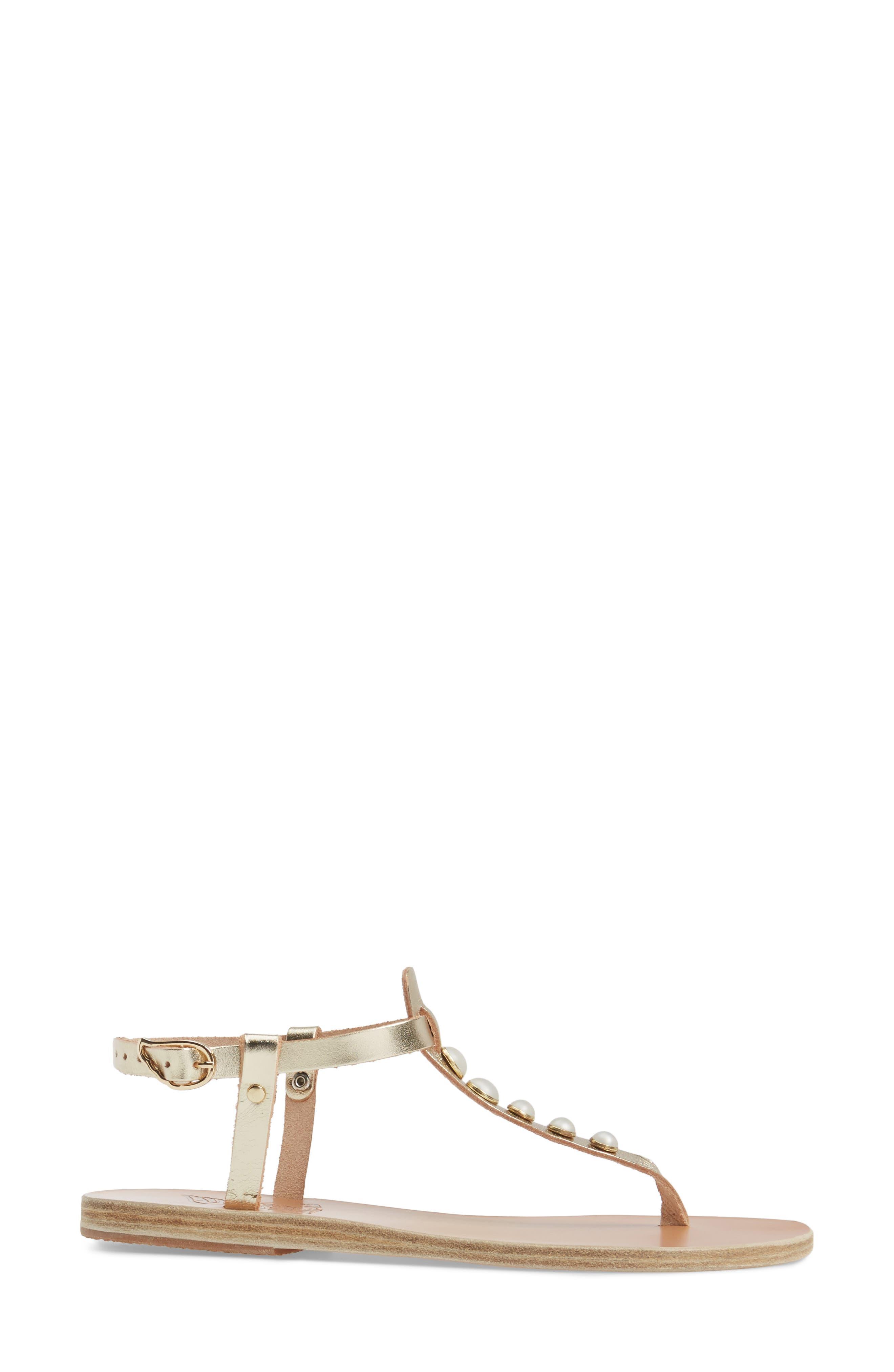 Lito Imitation Pearl Embellished T-Strap Sandal,                             Alternate thumbnail 3, color,                             040