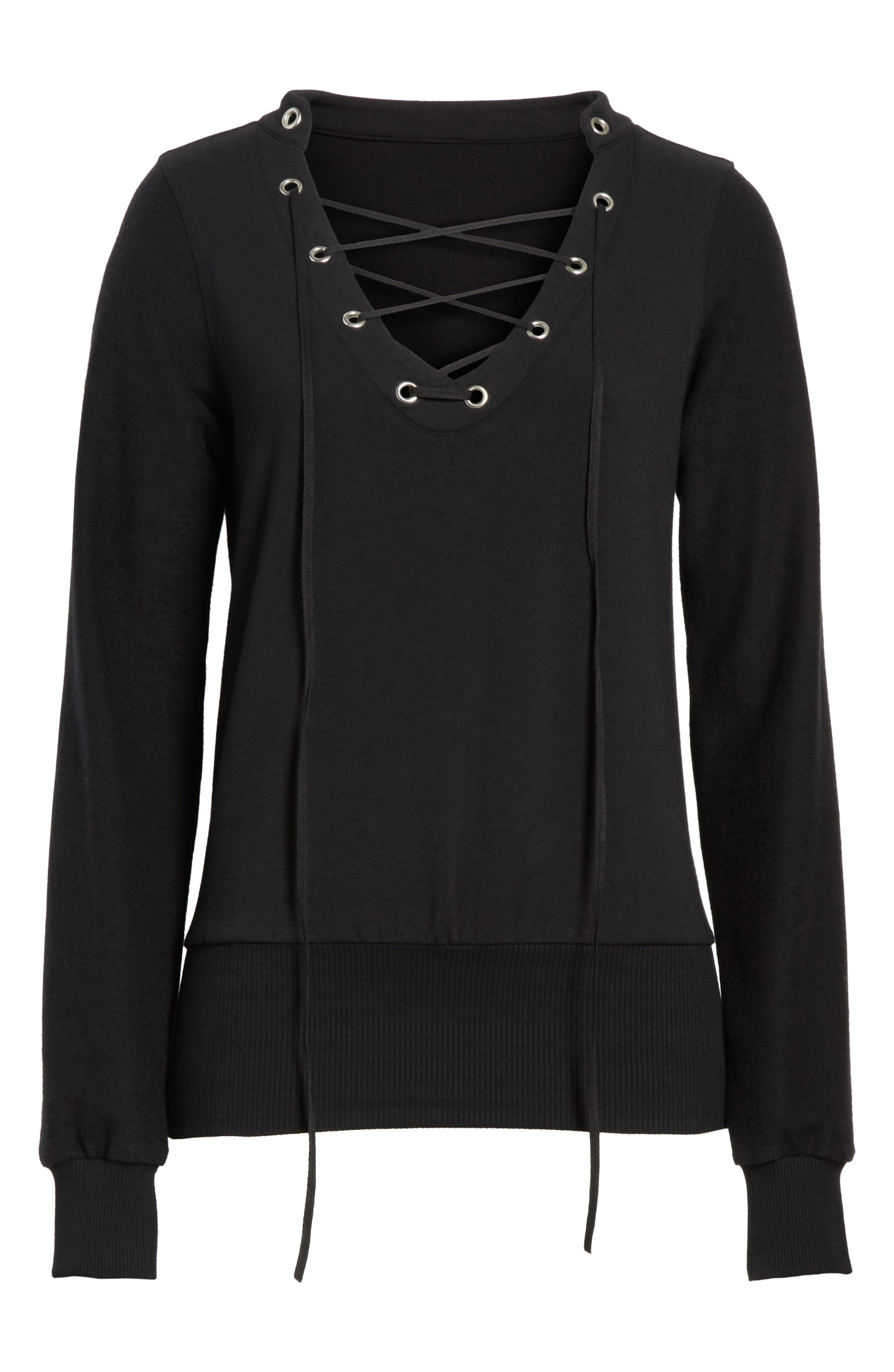 Josilyn Lace-Up Sweatshirt,                             Alternate thumbnail 6, color,                             001