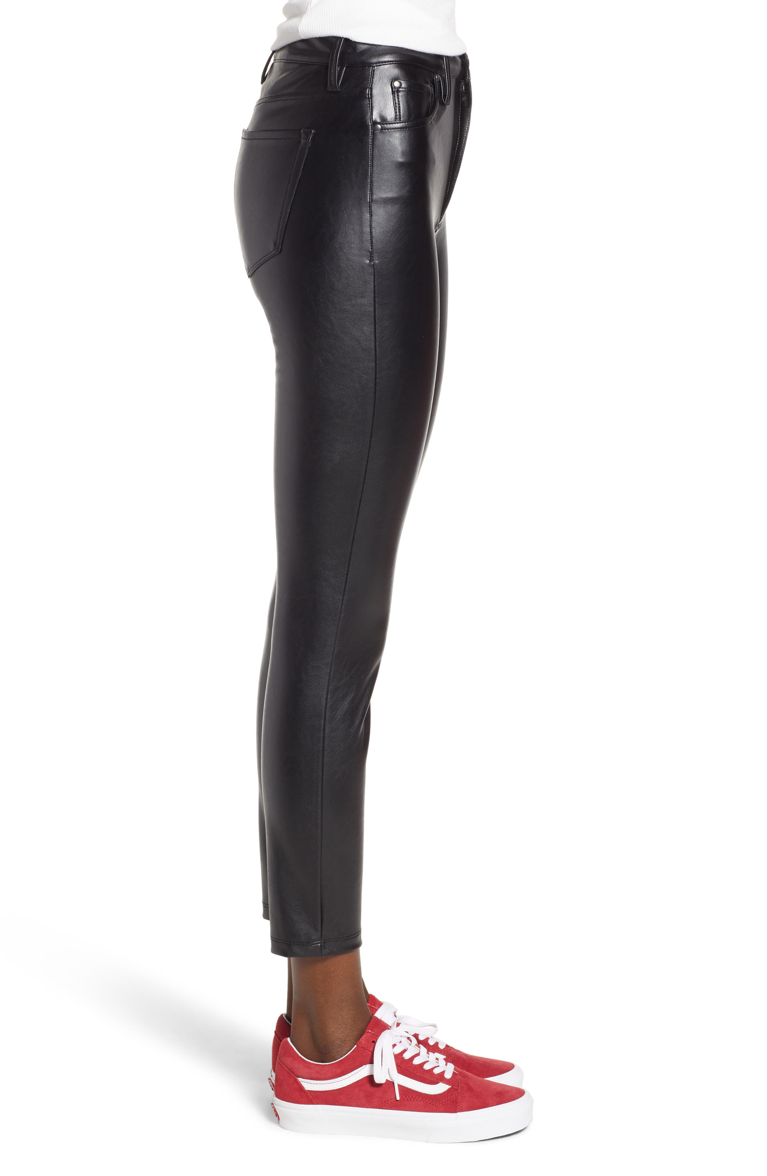 High Waist Faux Leather Skinny Pants,                             Alternate thumbnail 3, color,                             BLACK