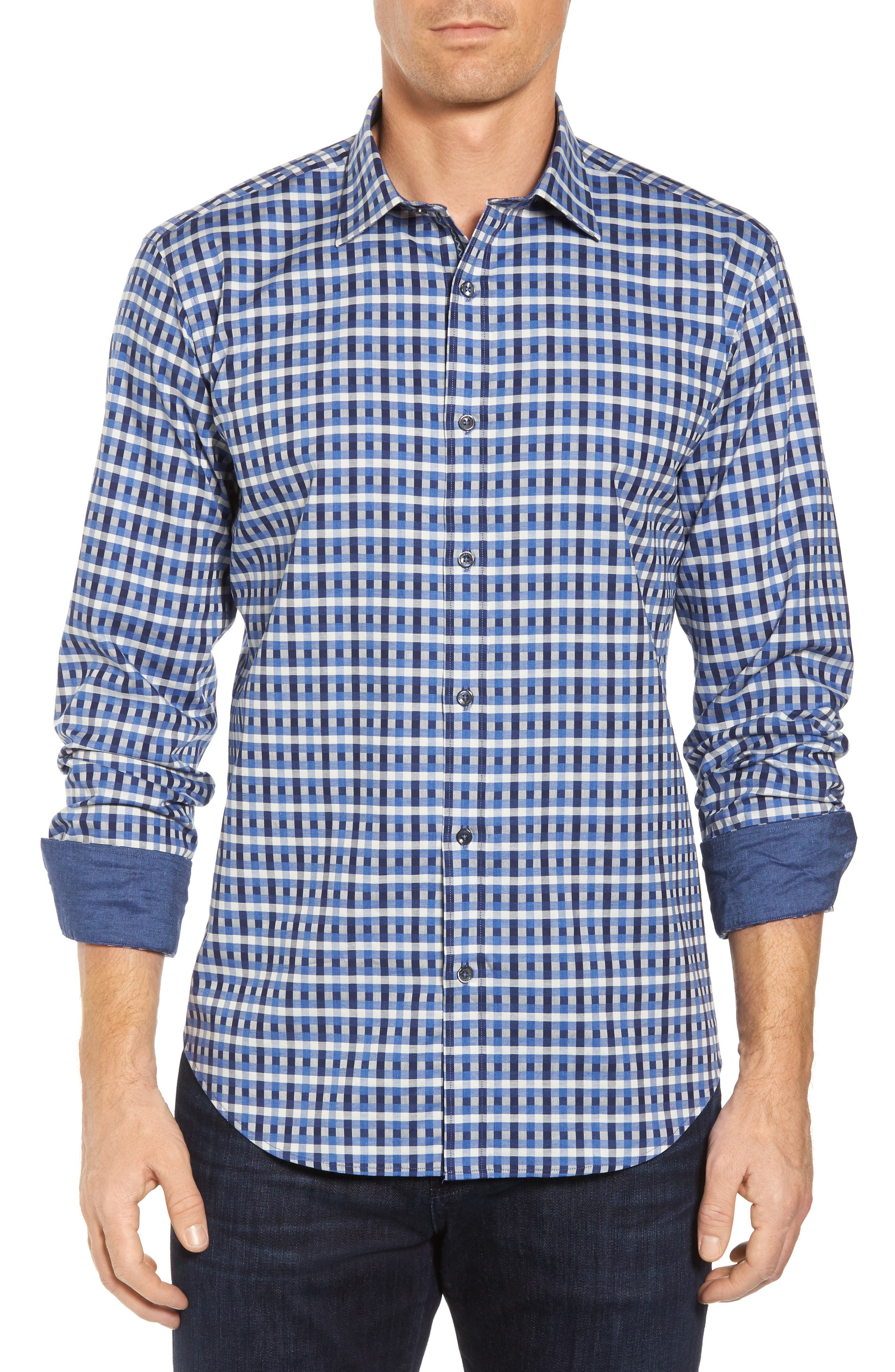 Shaped Fit Check Sport Shirt,                         Main,                         color, 412