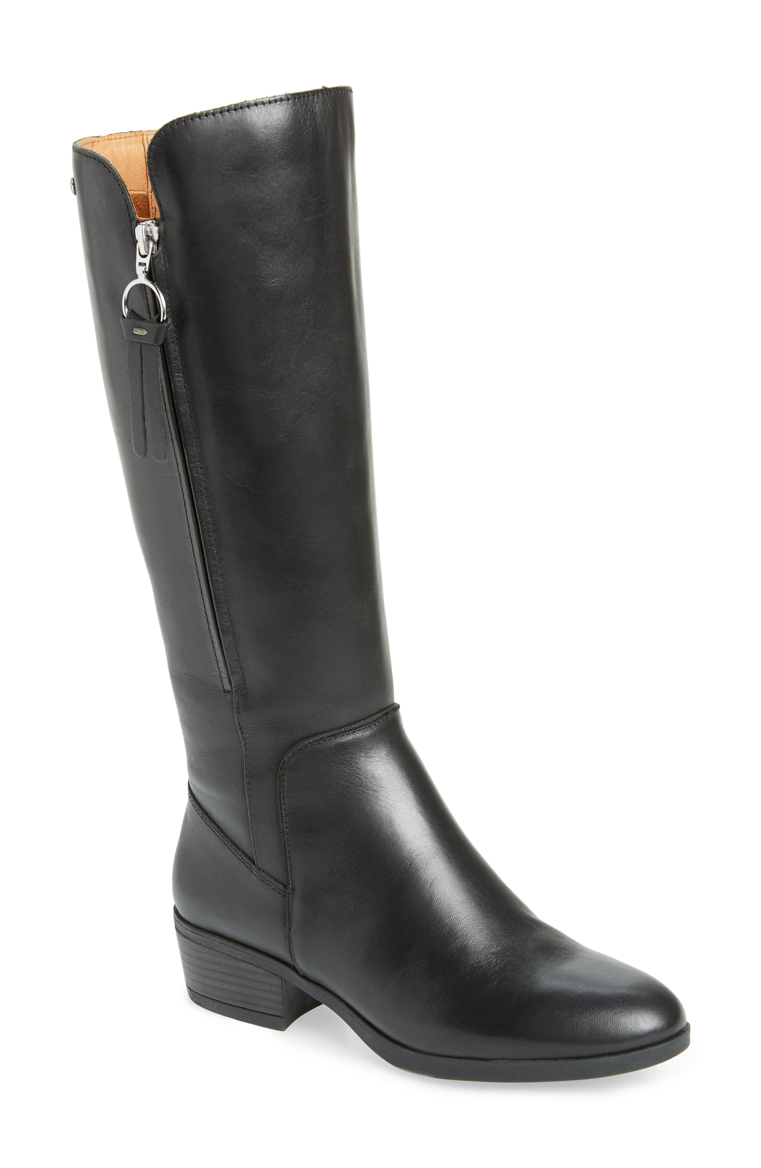Daroca Knee High Boot,                             Main thumbnail 1, color,                             BLACK LEATHER