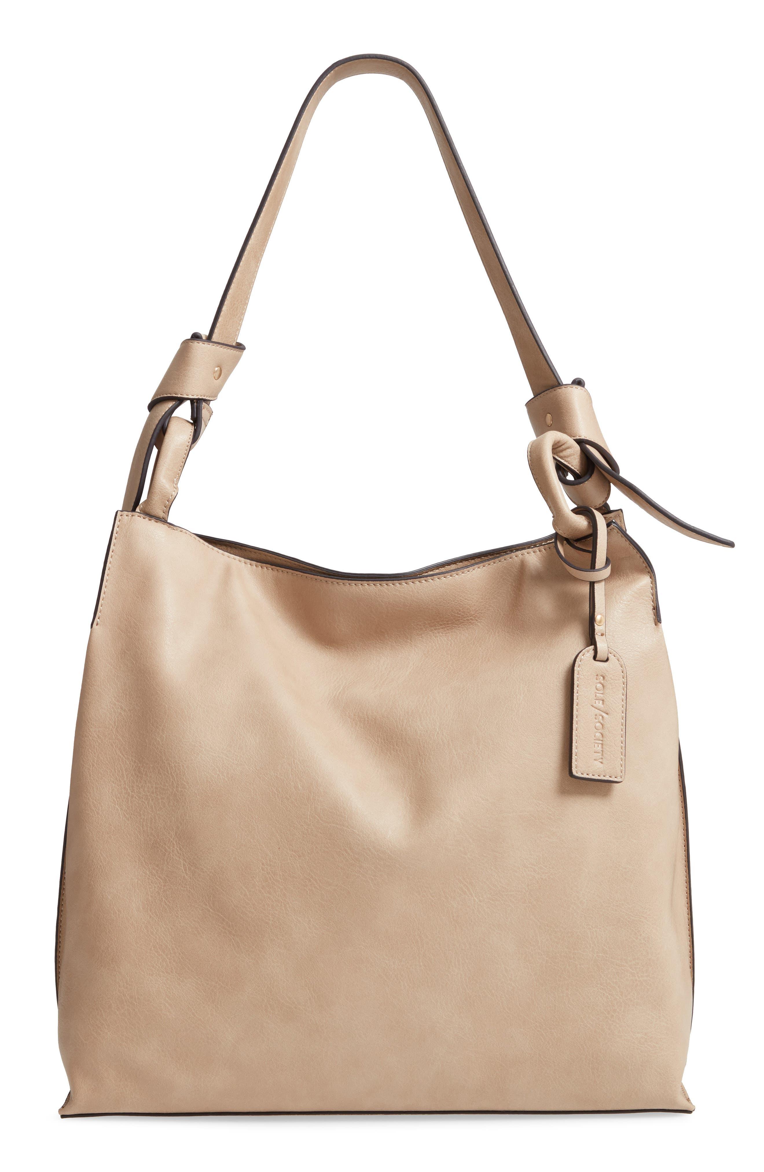Josah Faux Leather Shoulder Bag,                         Main,                         color, SAFARI