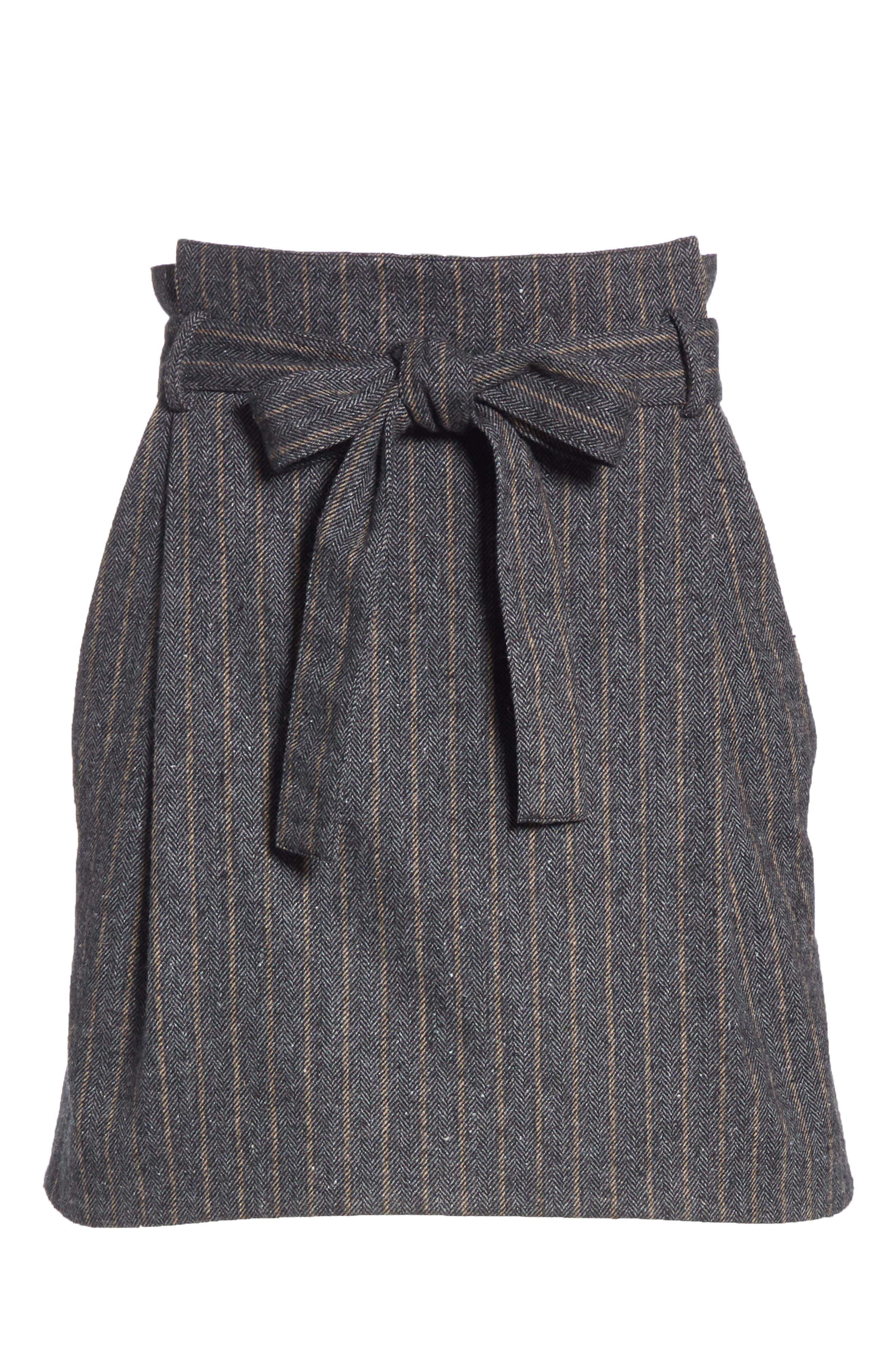Leo Paperbag Waist Wool & Silk Blend Skirt,                             Alternate thumbnail 6, color,                             ASH