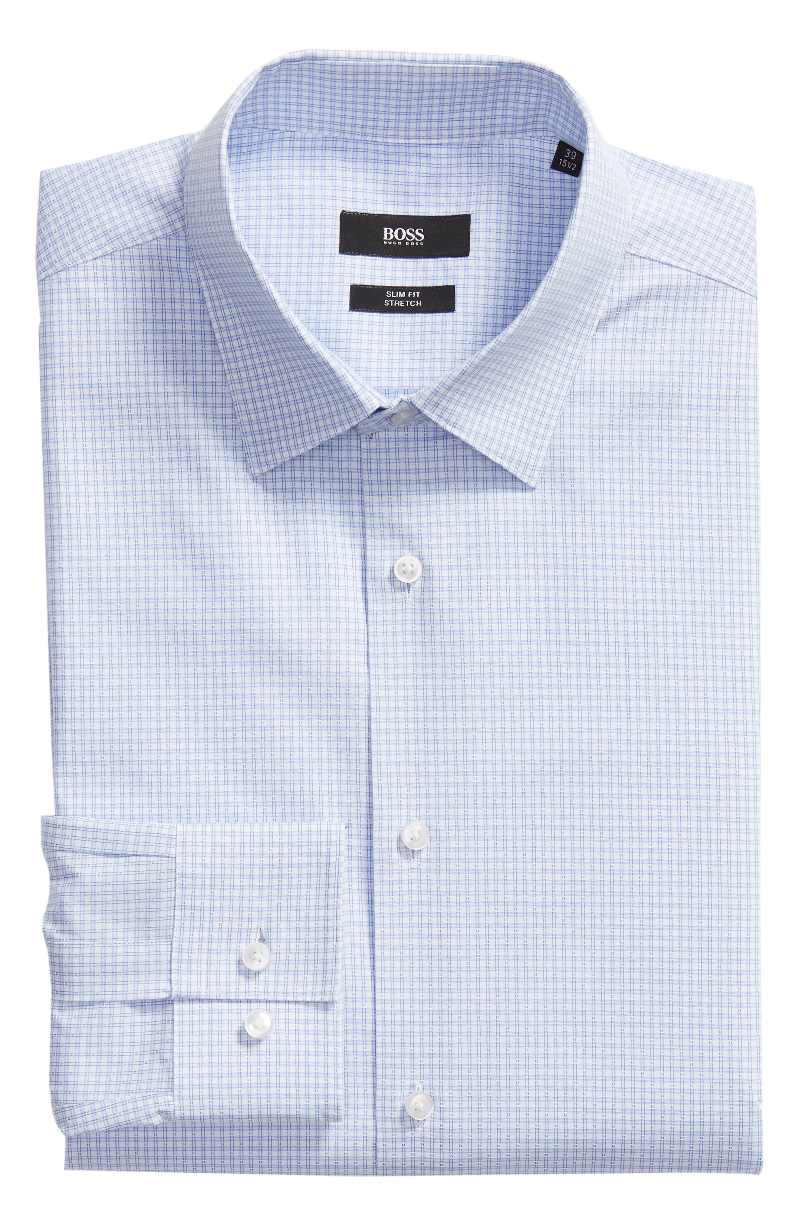 Isko Slim Fit Stretch Check Dress Shirt,                             Alternate thumbnail 5, color,                             450
