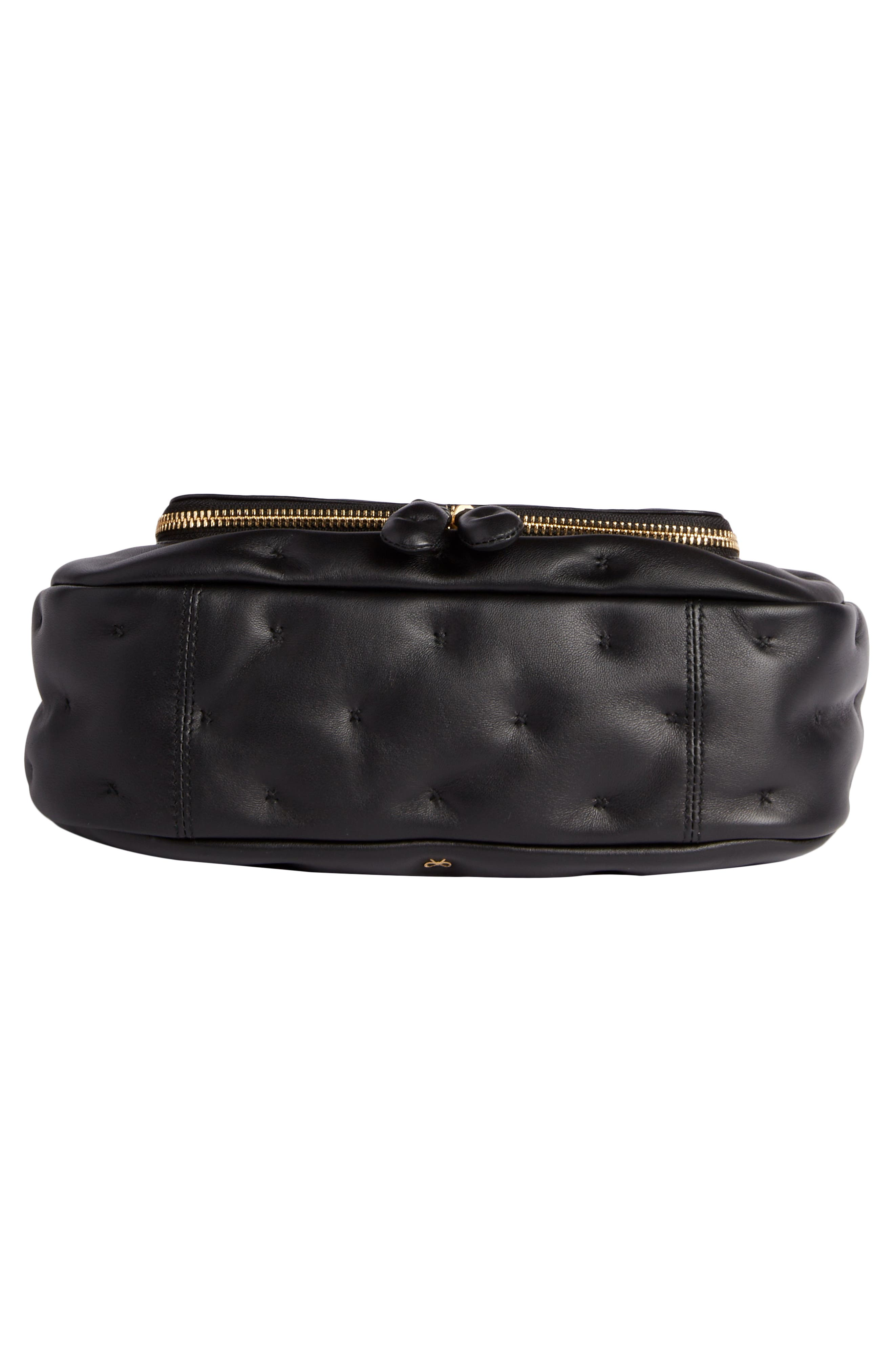 Small Vere Chubby Lambskin Leather Satchel,                             Alternate thumbnail 5, color,                             BLACK