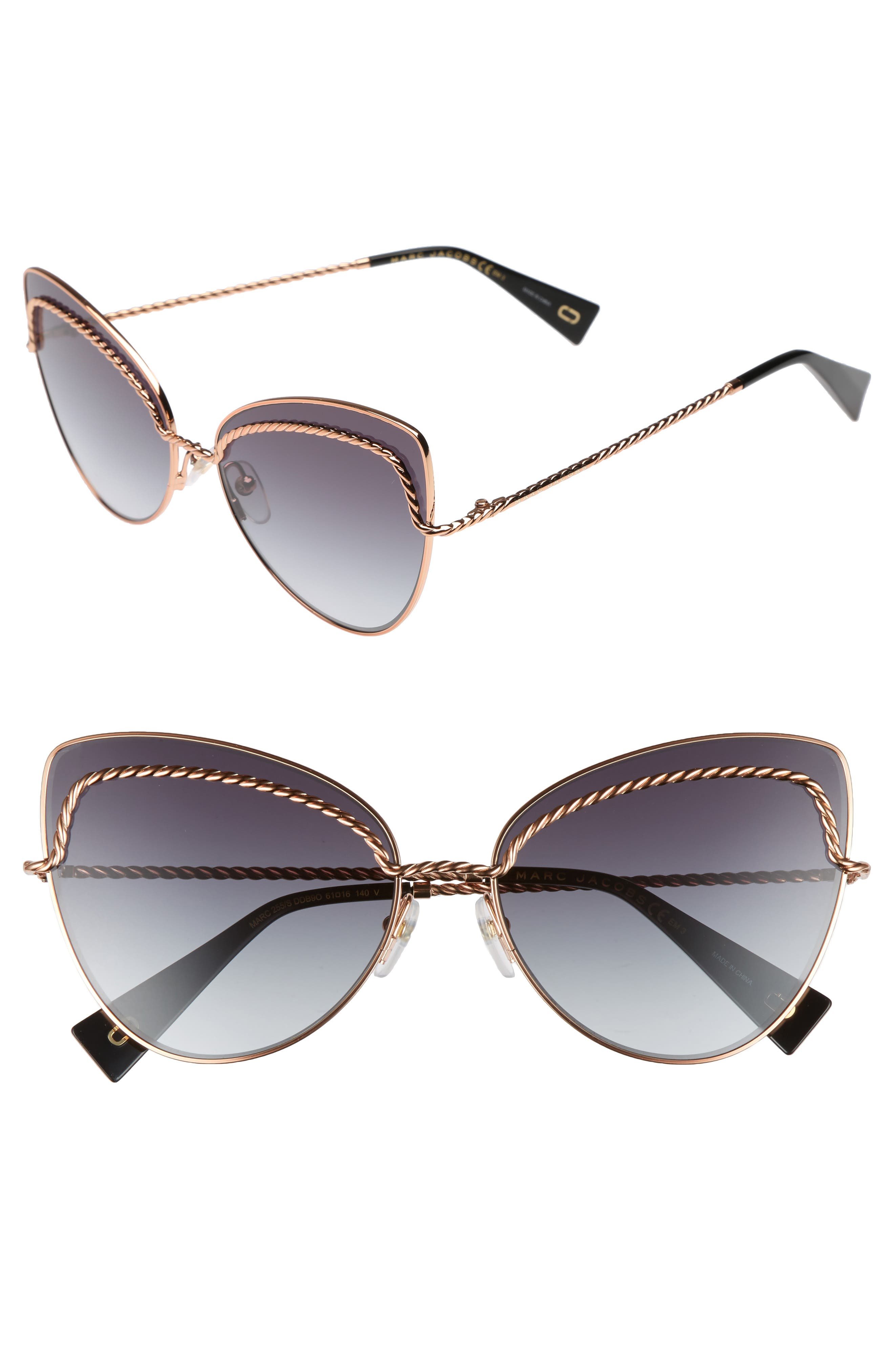 61mm Butterfly Sunglasses,                         Main,                         color,