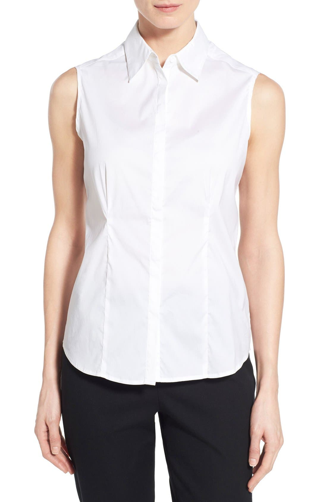 Sleeveless Blouse,                         Main,                         color, WHITE
