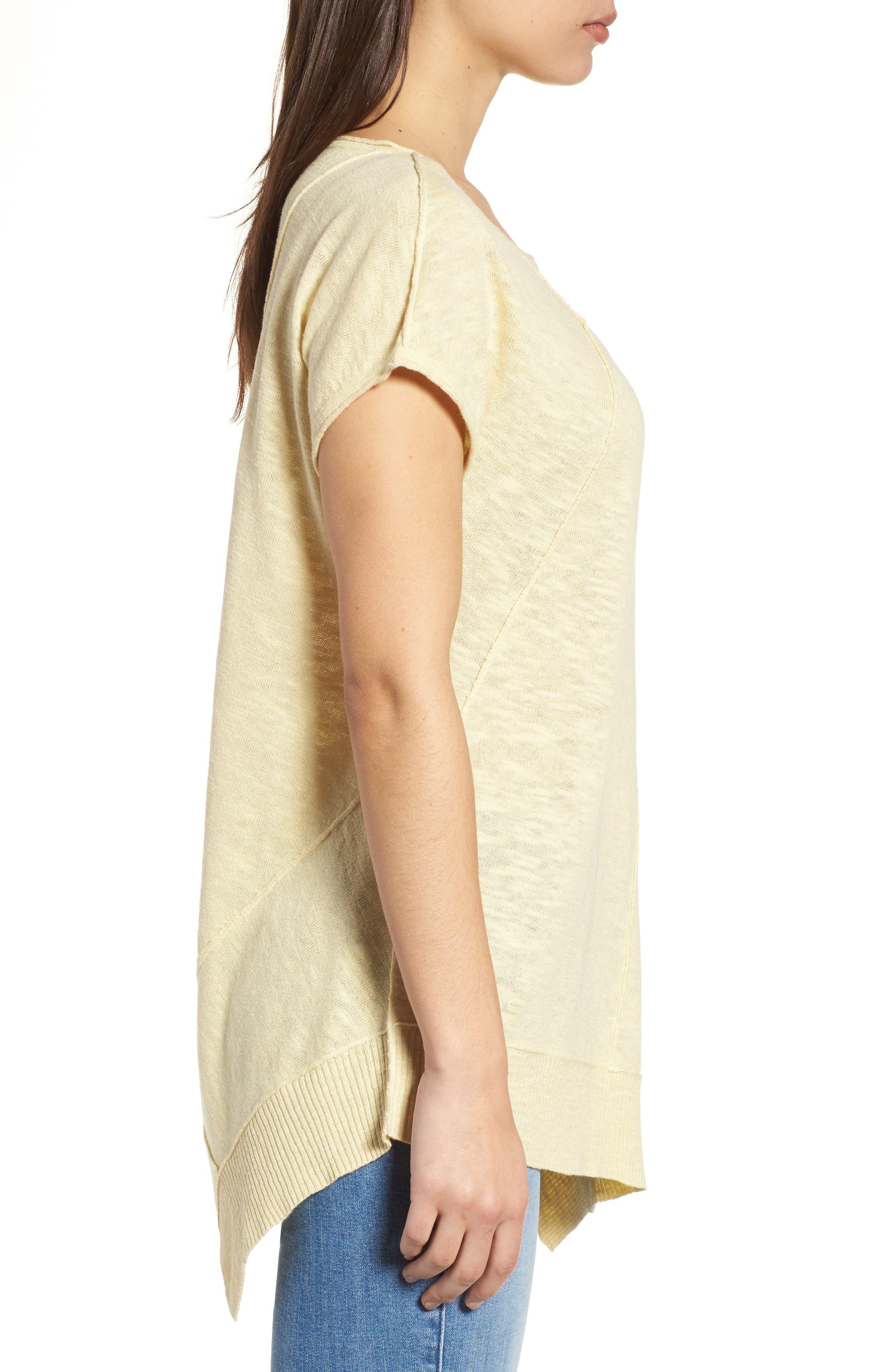 Cap Sleeve Organic Linen & Cotton Scoop Neck Top,                             Alternate thumbnail 40, color,