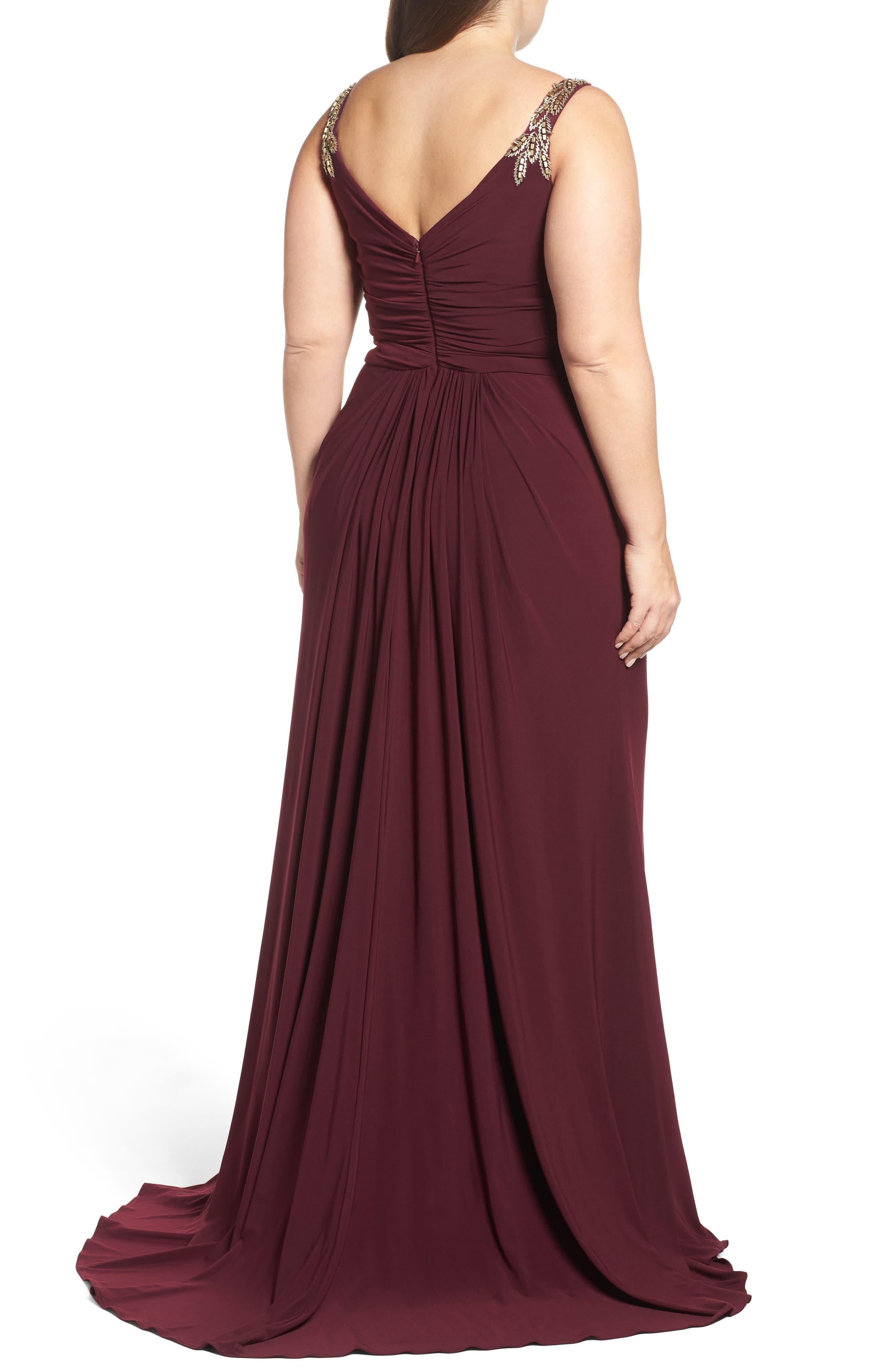 Embellished Shoulder Jersey Gown,                             Alternate thumbnail 2, color,                             BURGUNDY