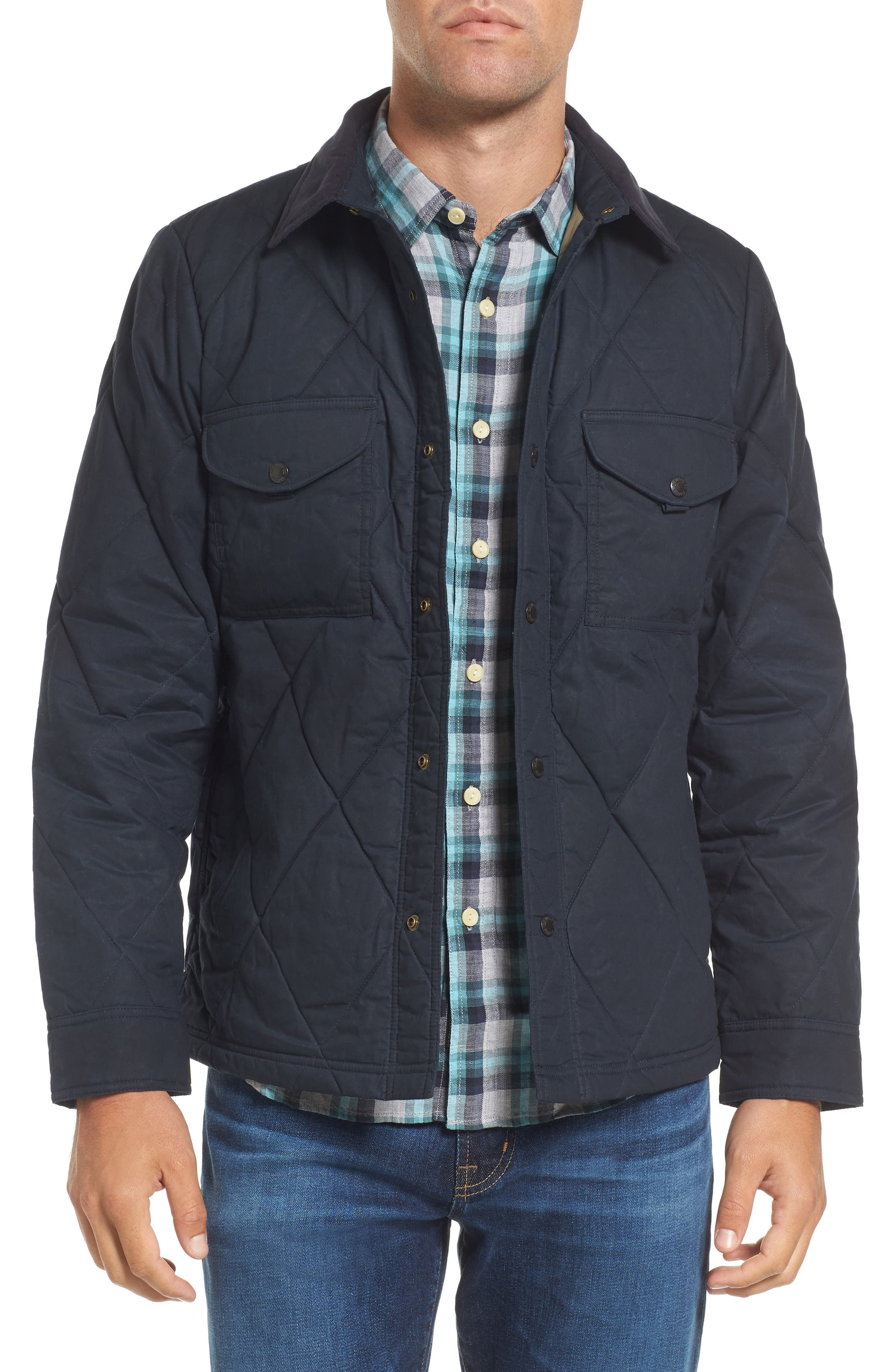 Hyder Quilted Water-Repellent Shirt Jacket,                         Main,                         color, FADED NAVY