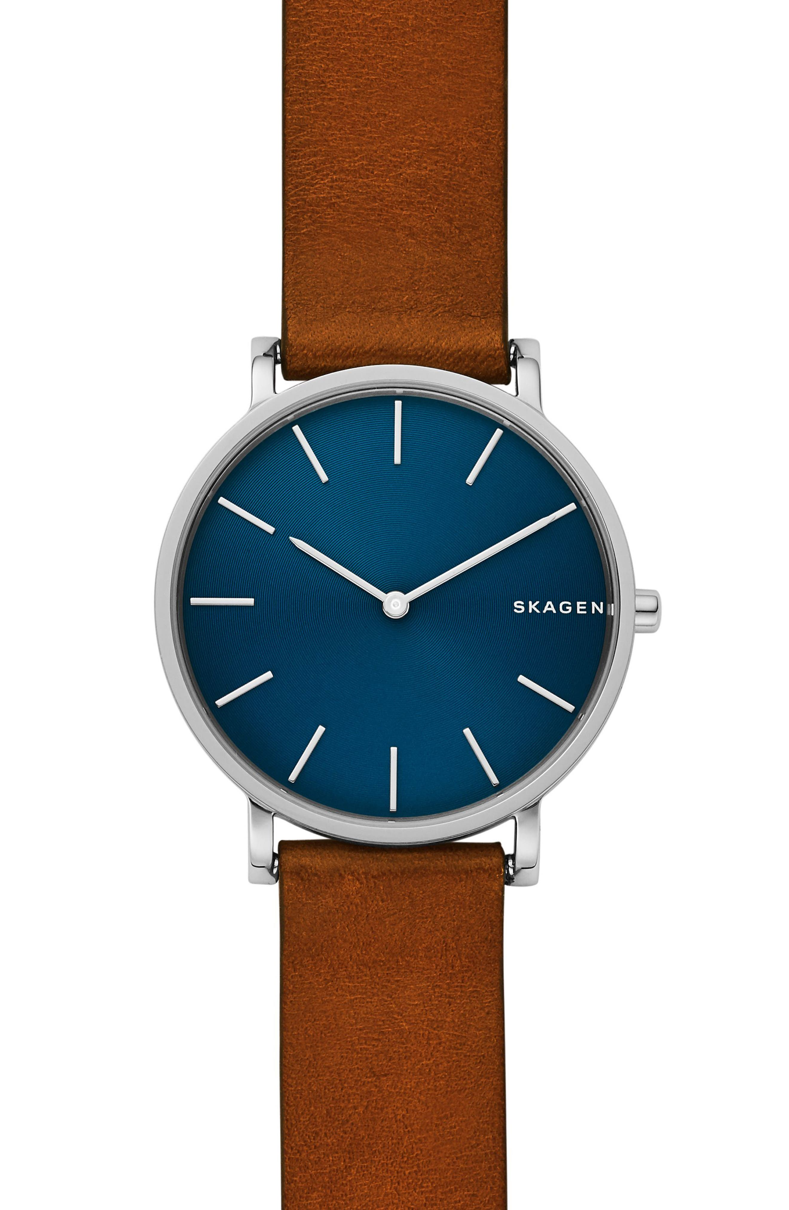 Hagen Slim Leather Strap Watch, 38mm,                         Main,                         color, BROWN/ BLUE/ SILVER