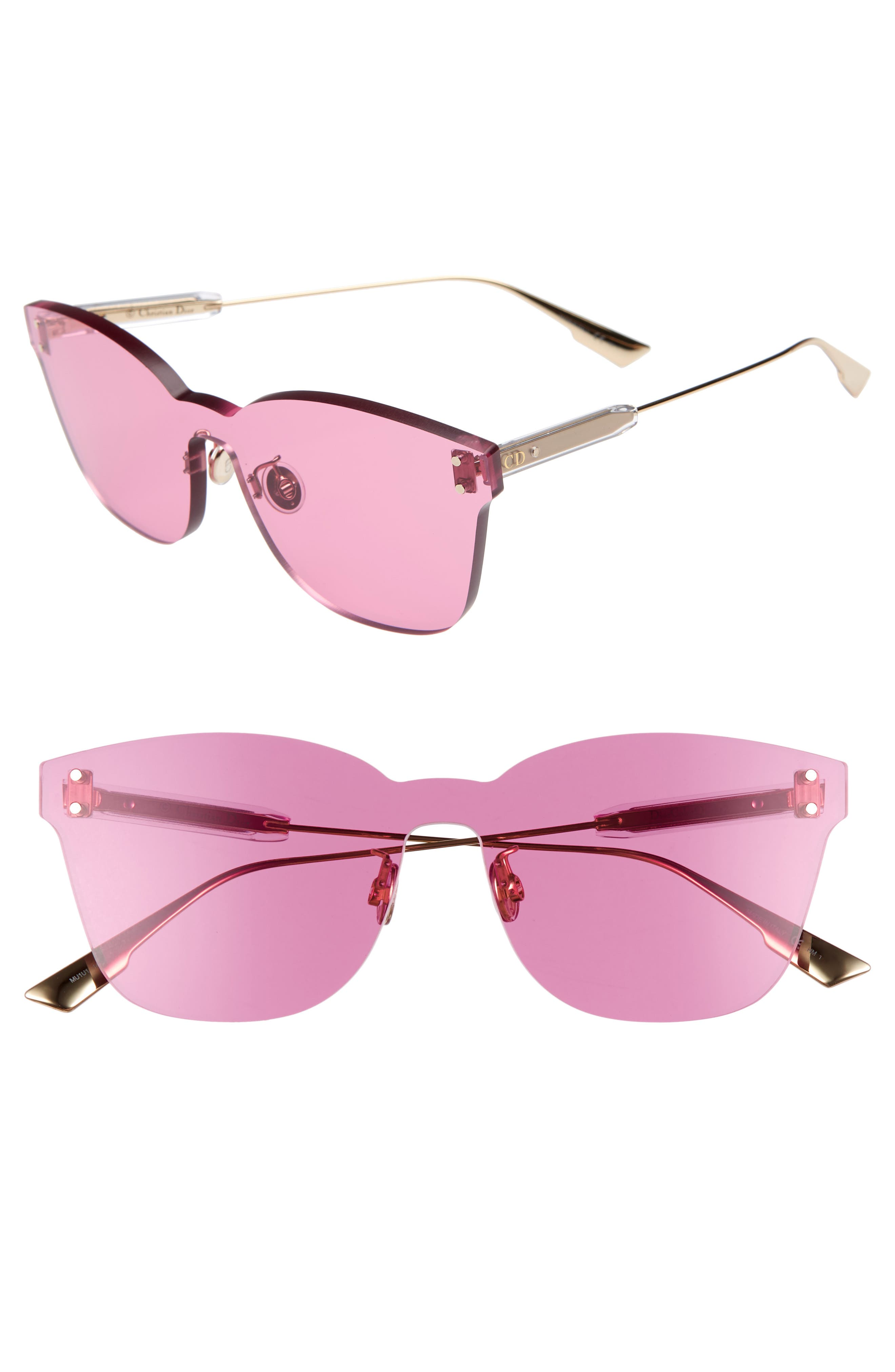 Christian Dior Quake2 135Mm Rimless Shield Sunglasses - Fuchsia