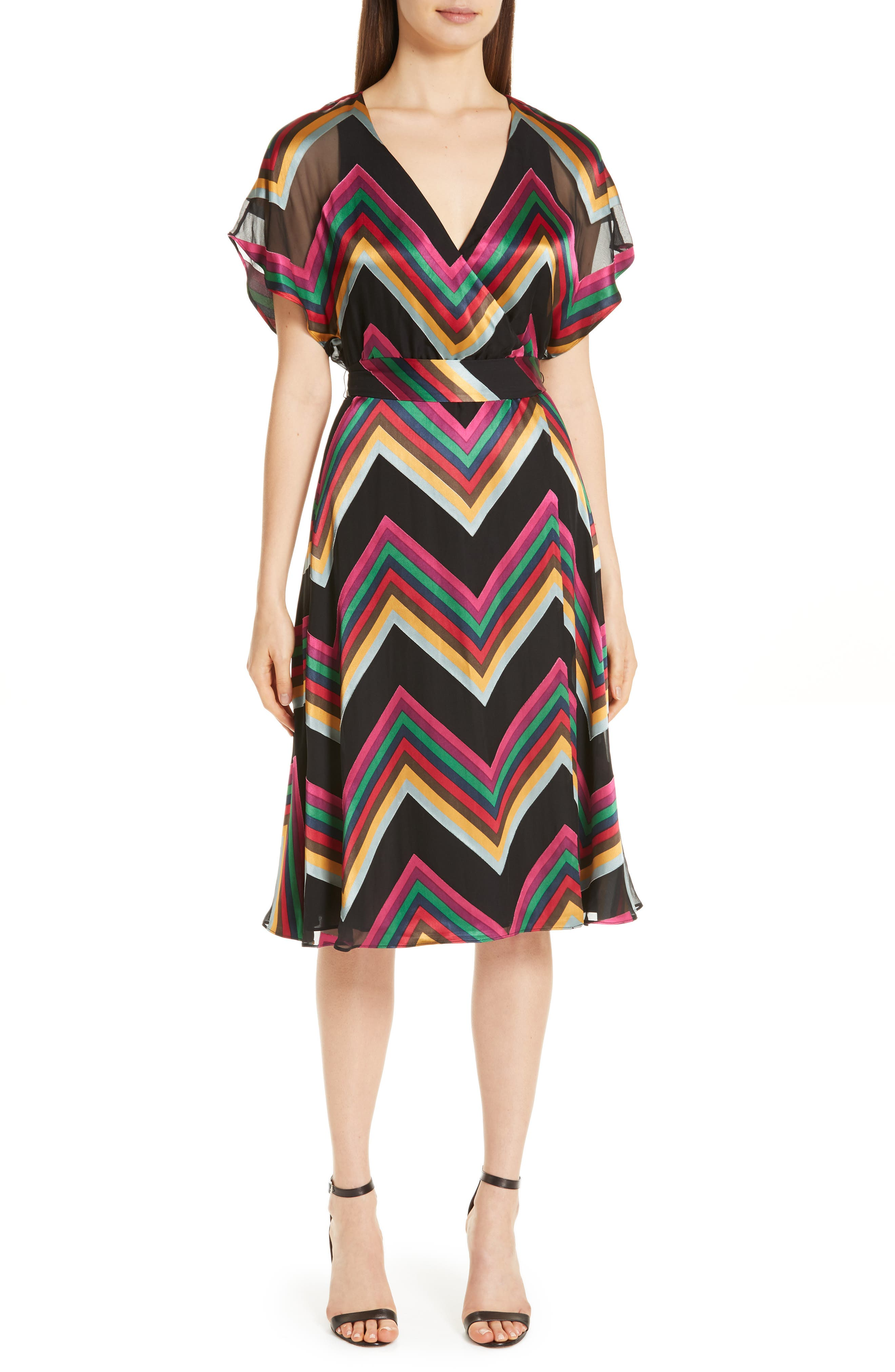 Alice + Olivia Cape Sleeve Chevron Stripe Dress