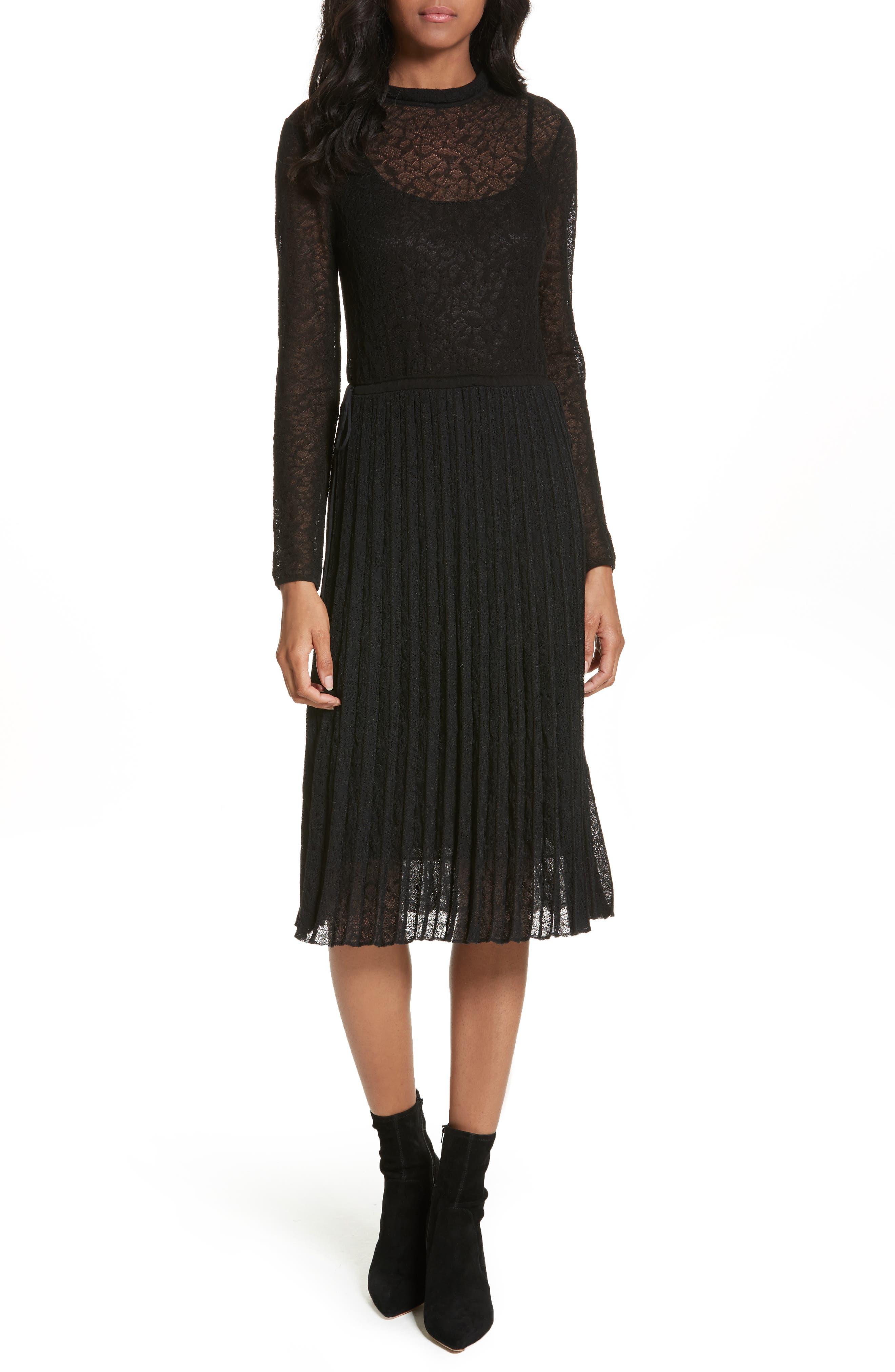 Lace Plissé Pleated Midi Dress,                             Main thumbnail 1, color,                             001