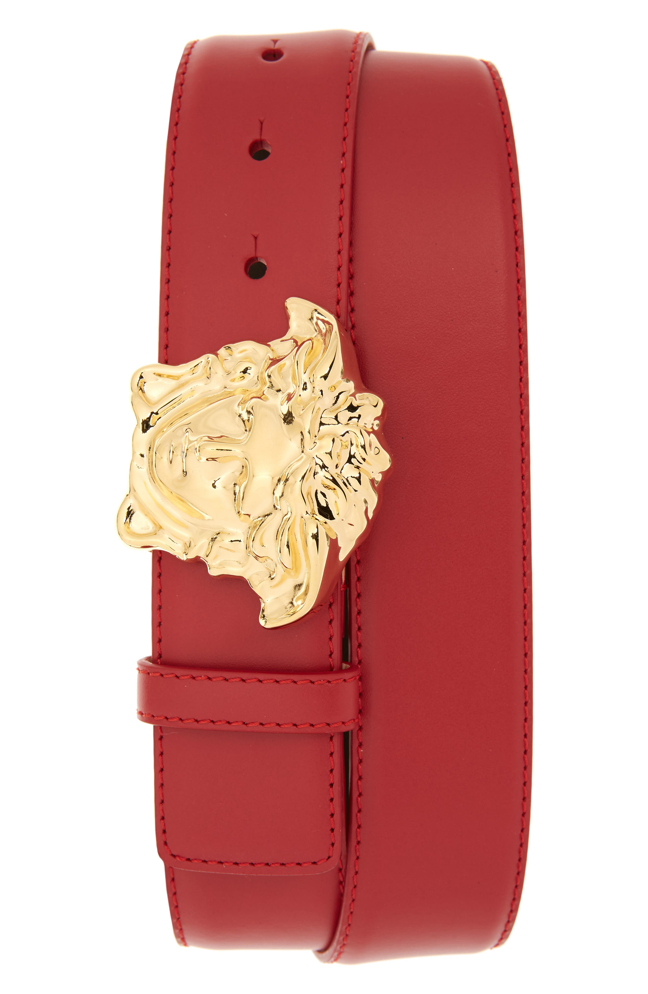 Medusa Head Leather Belt,                         Main,                         color, GERANIUM WARM GOLD
