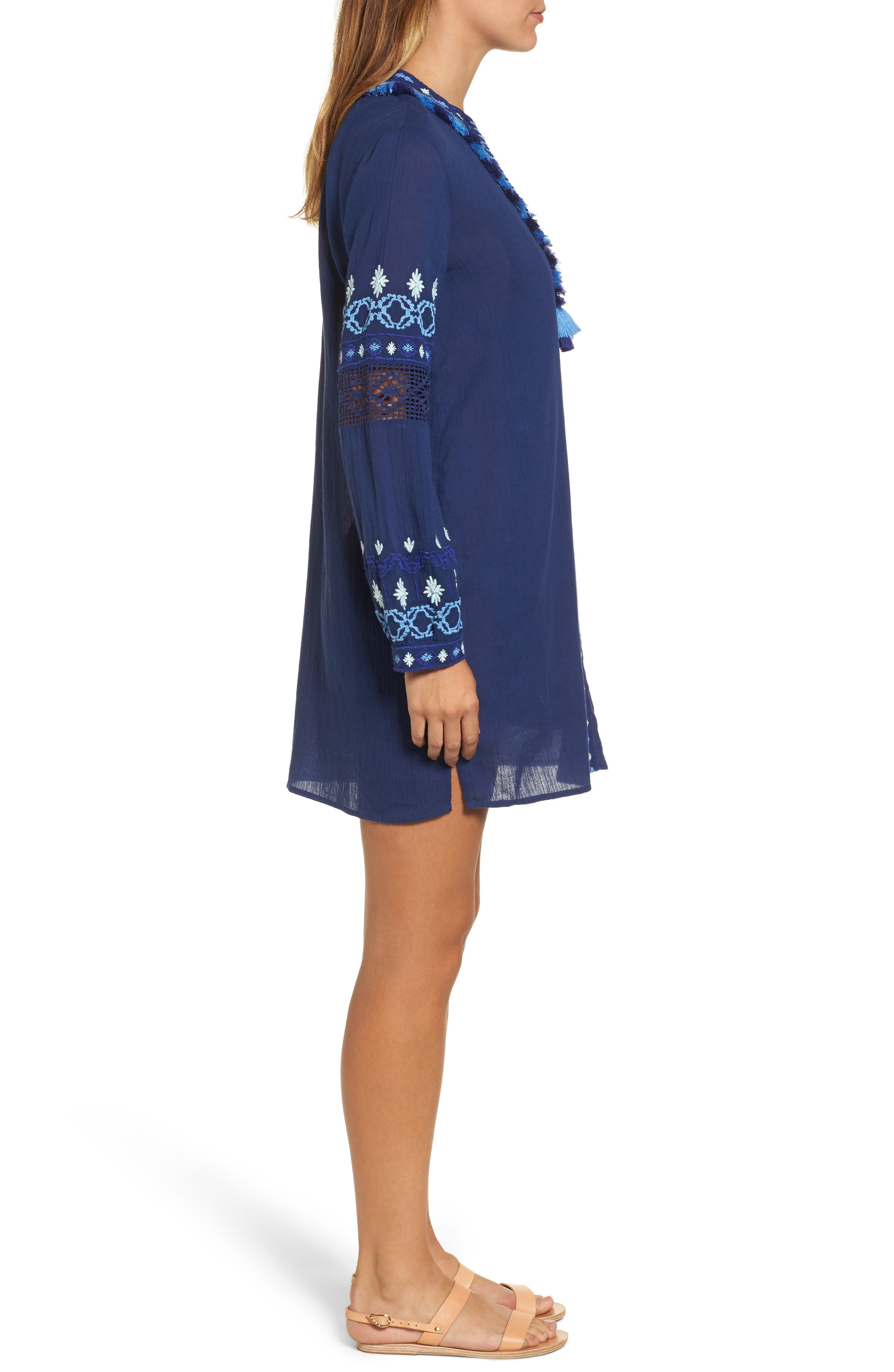 Solid Embroidered Cover-Up,                             Alternate thumbnail 3, color,                             476