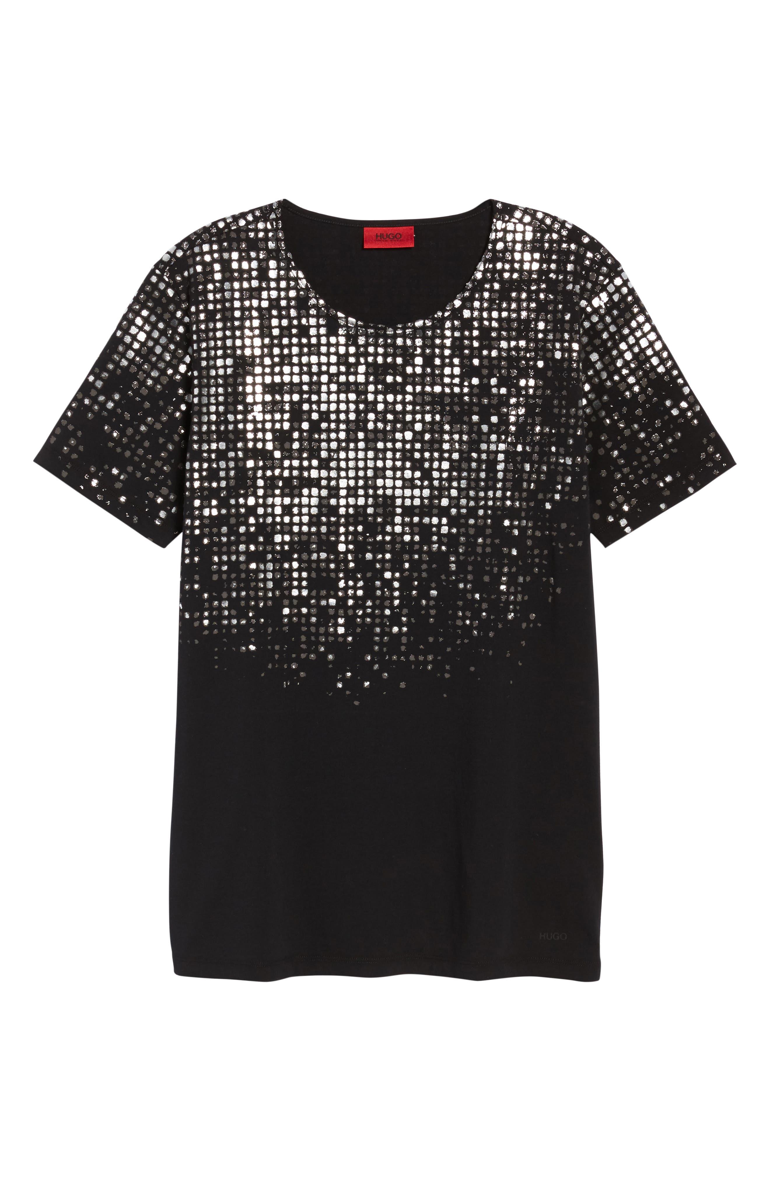 HUGO Silver Detail T-Shirt,                             Alternate thumbnail 6, color,                             001