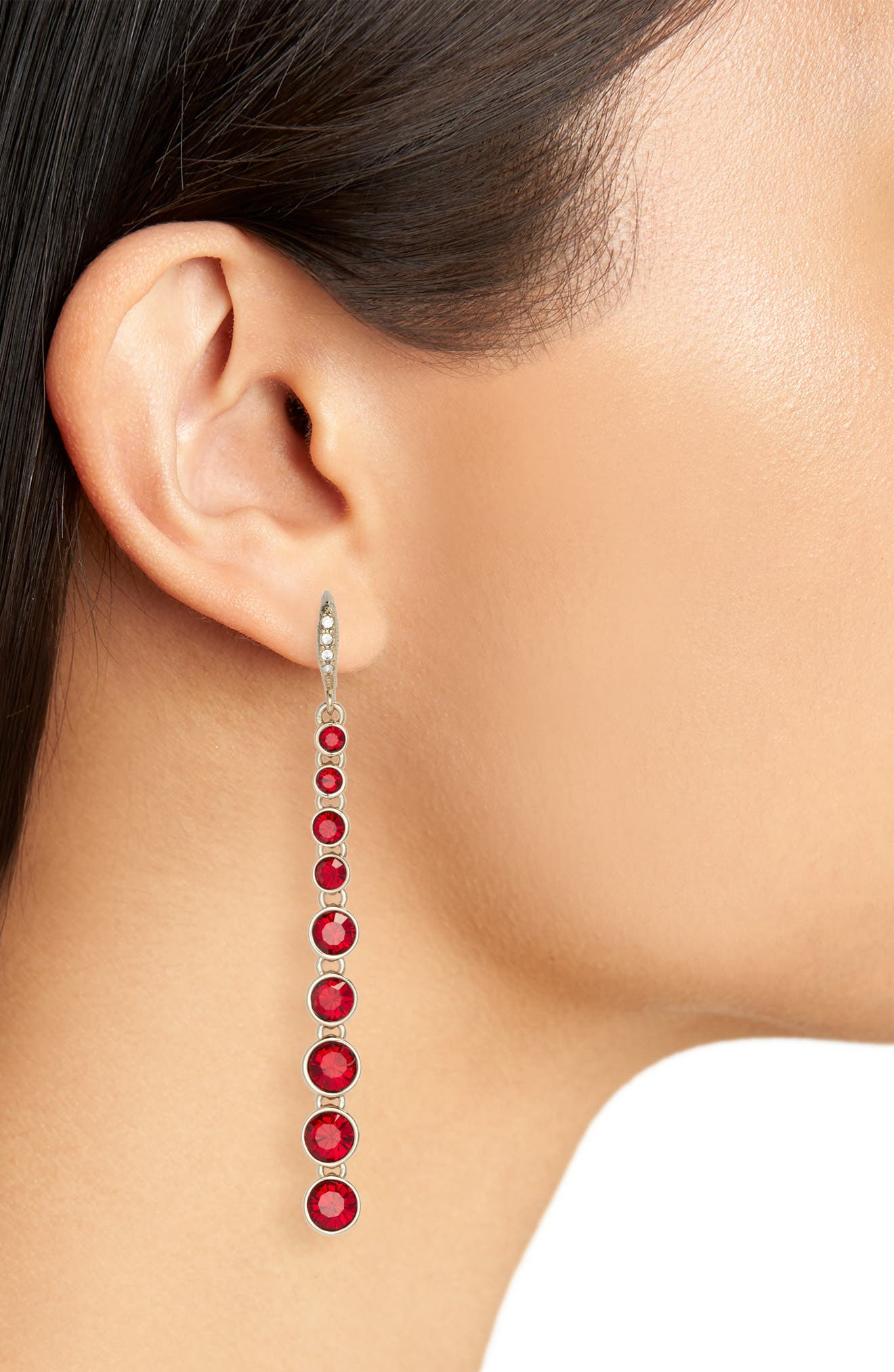 Linear Earrings,                             Alternate thumbnail 2, color,                             RED/ GOLD