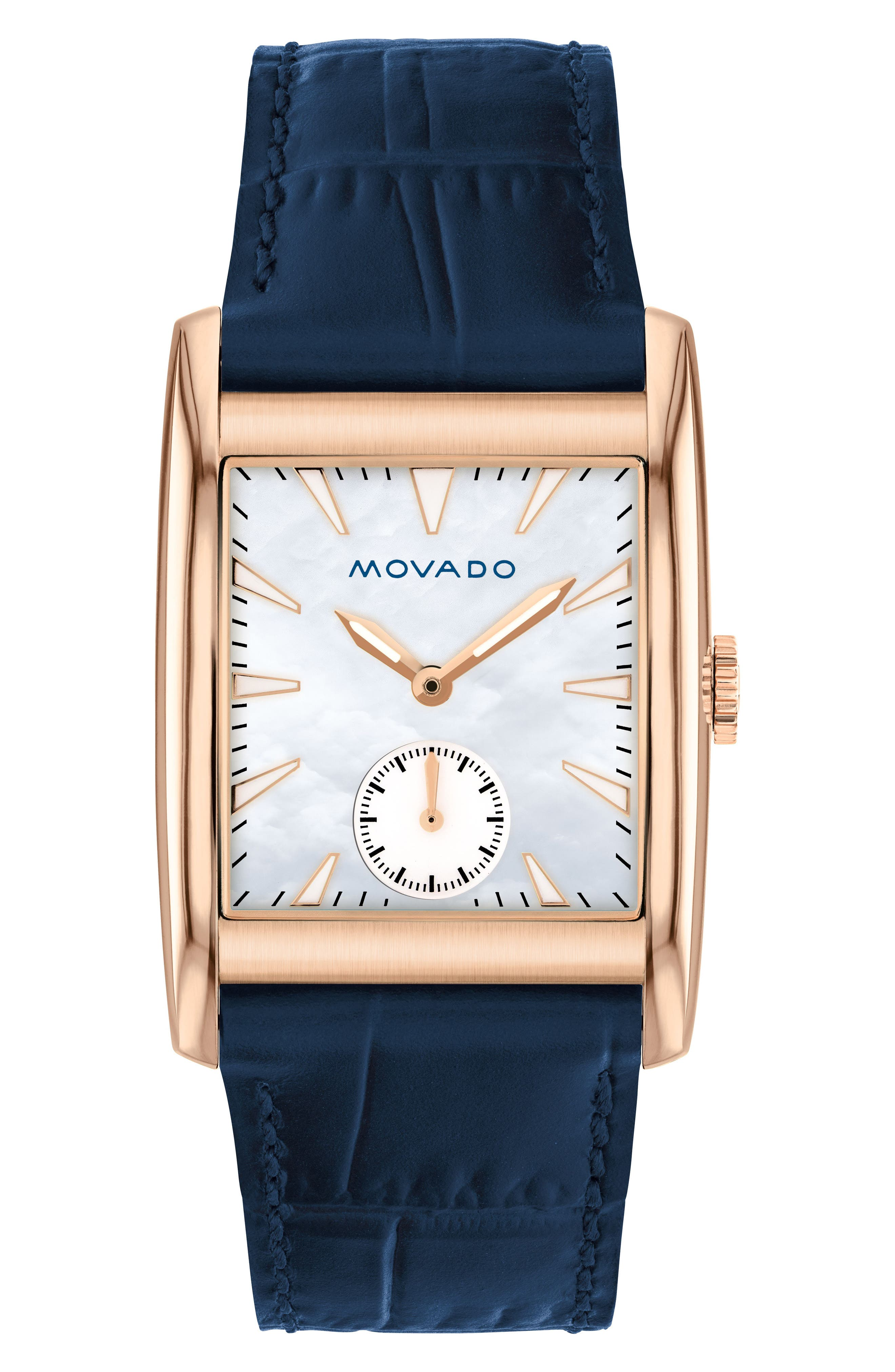 Heritage Leather Strap Watch, 38mm,                             Main thumbnail 1, color,                             NAVY/ MOP/ ROSE GOLD
